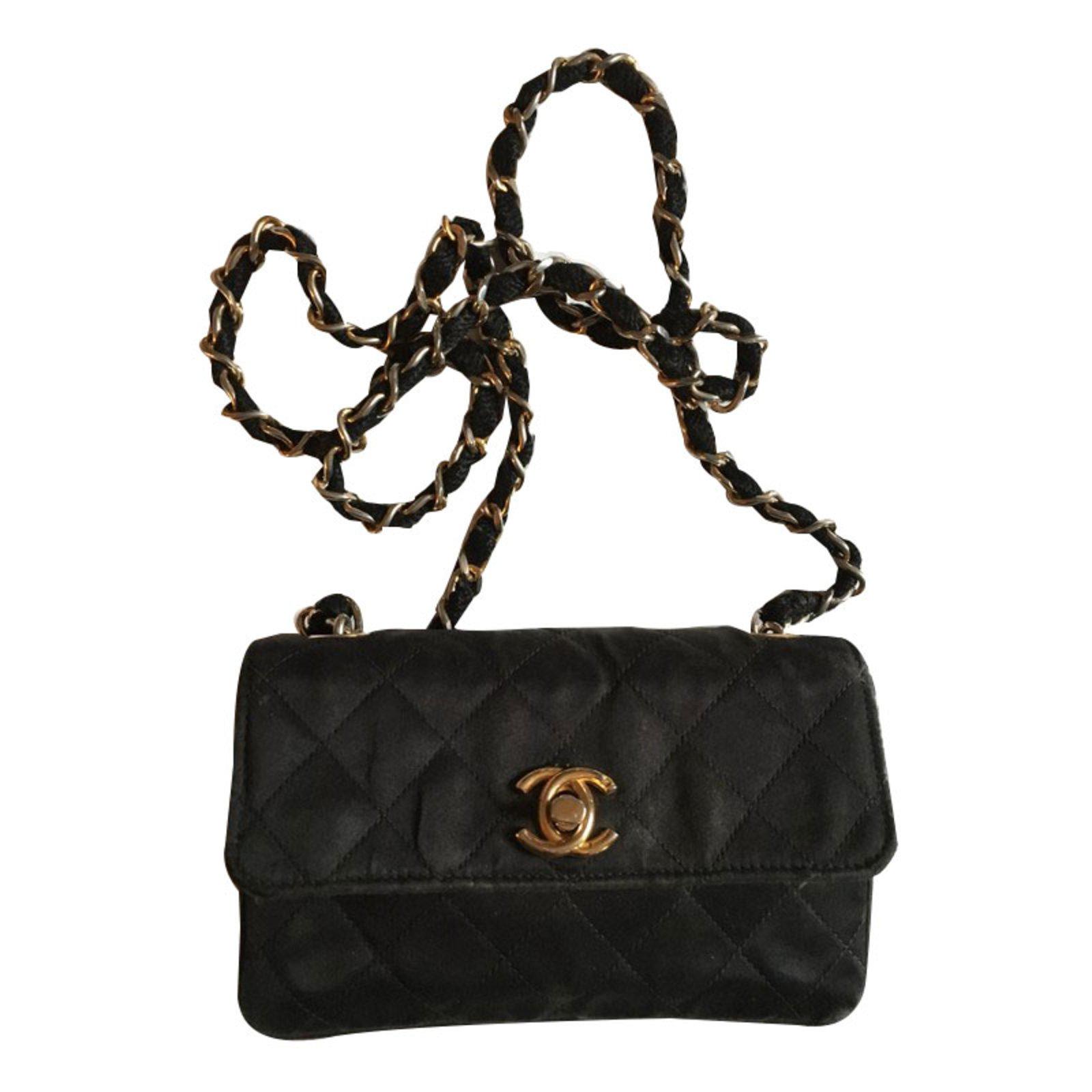 d32de0c61947 Chanel Handbags Handbags Satin Black ref.57401 - Joli Closet