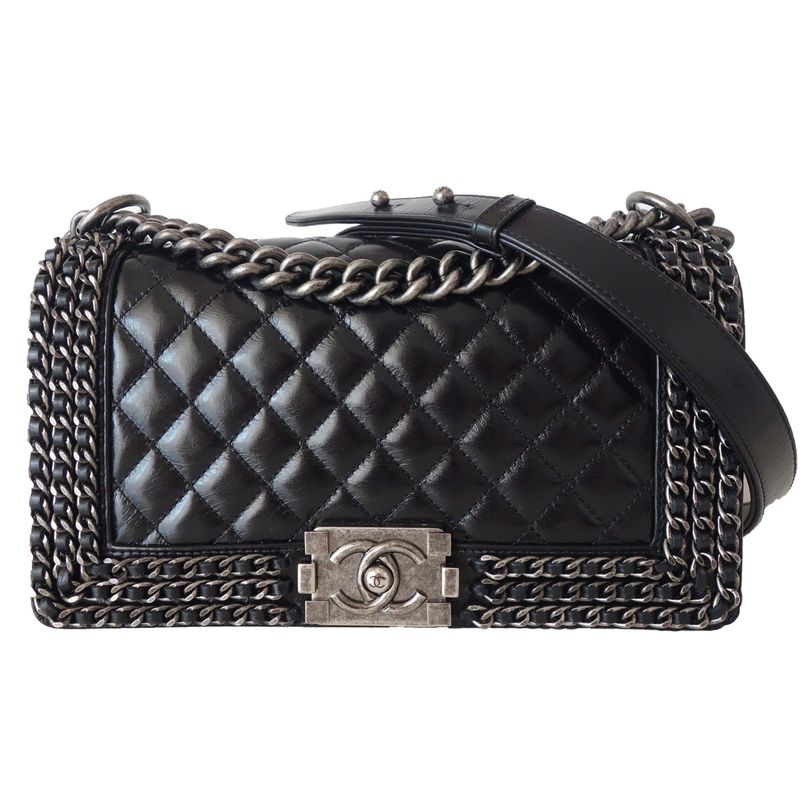 a78dd9bd47f9 Chanel LIMITED EDITION CHANEL BOY Handbags Leather Black ref.57433 ...