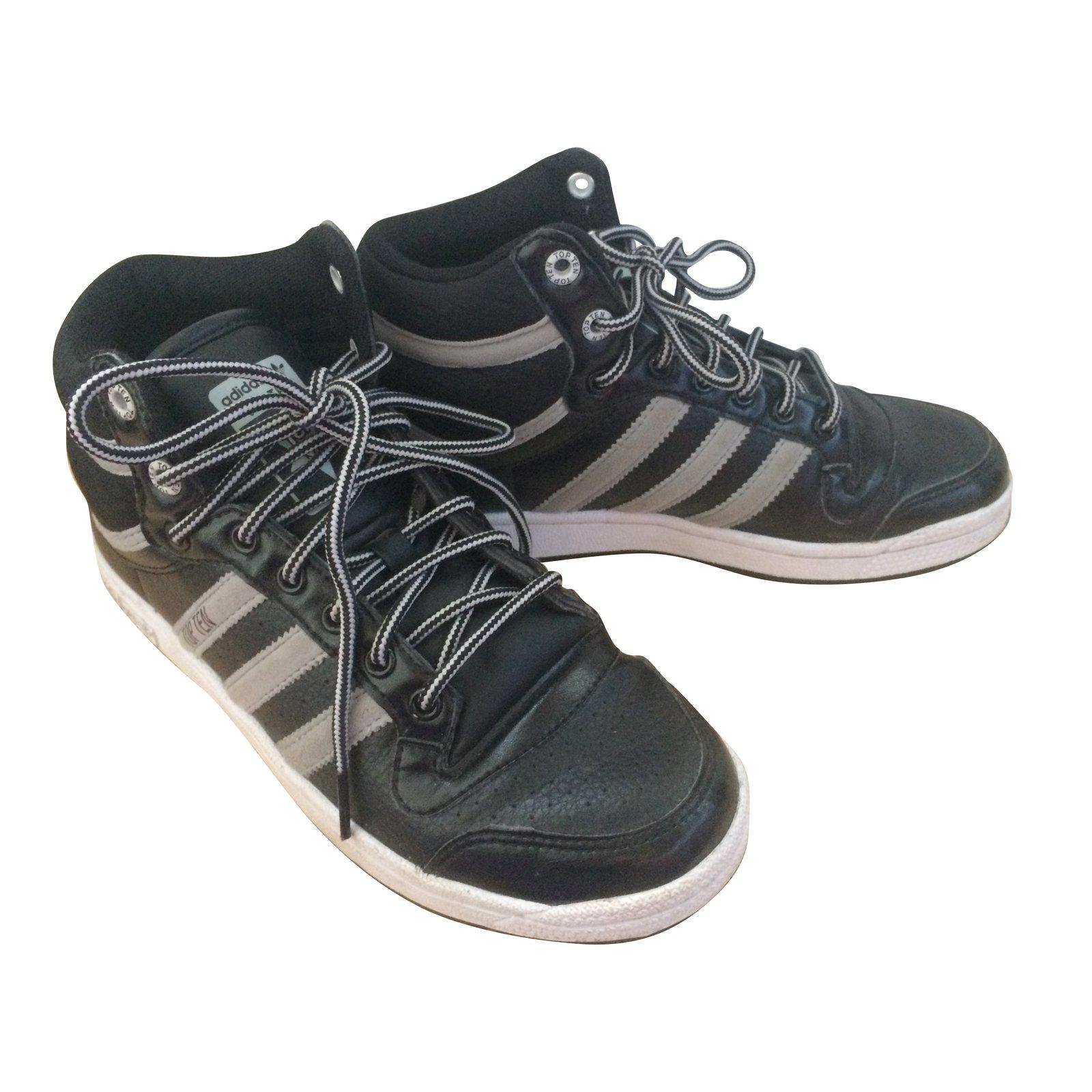 Baskets Adidas TOP TEN Cuir Noir ref.57471 - Joli Closet d072dd98f6a5