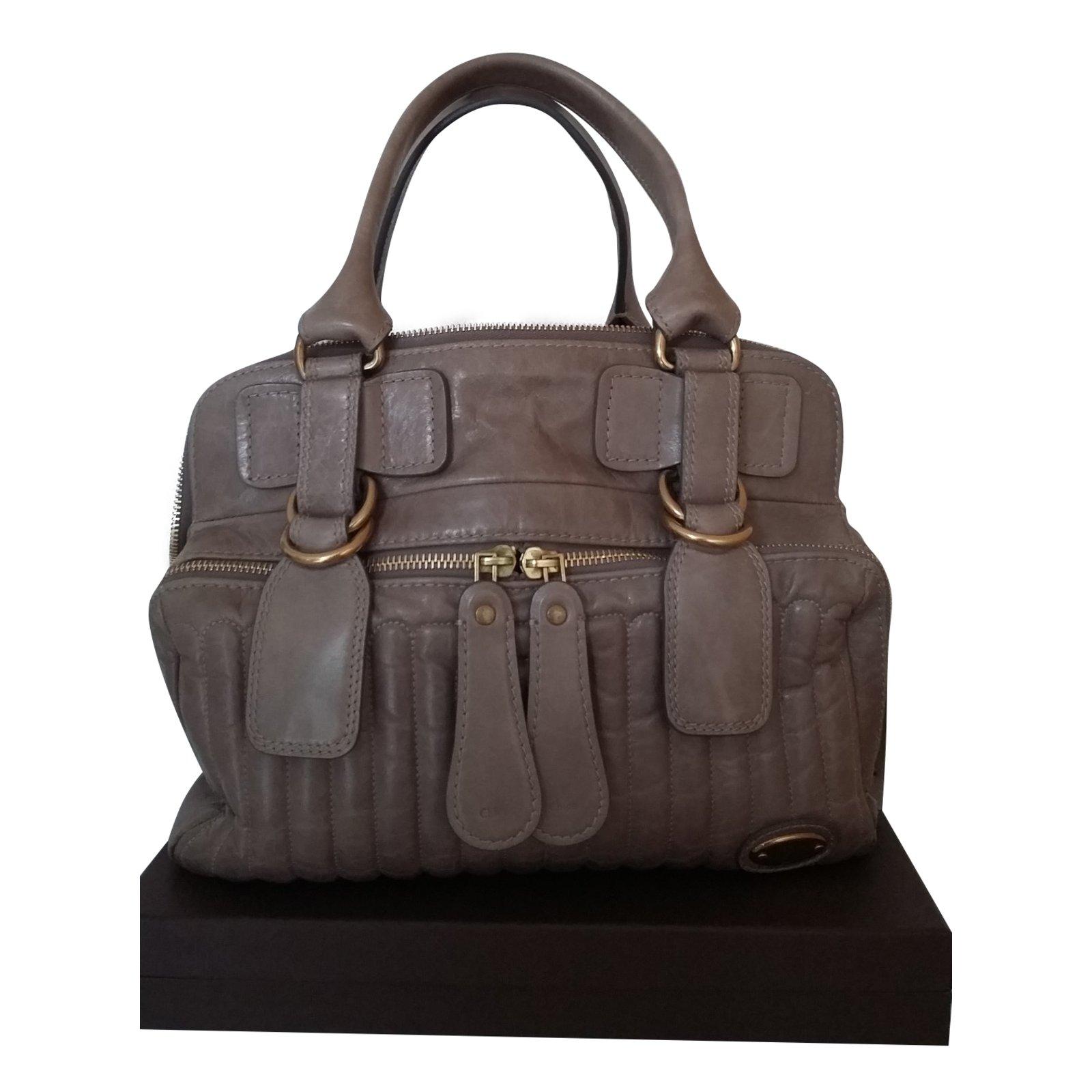 Chloé Bay Handbags Leather Beige Ref 57528