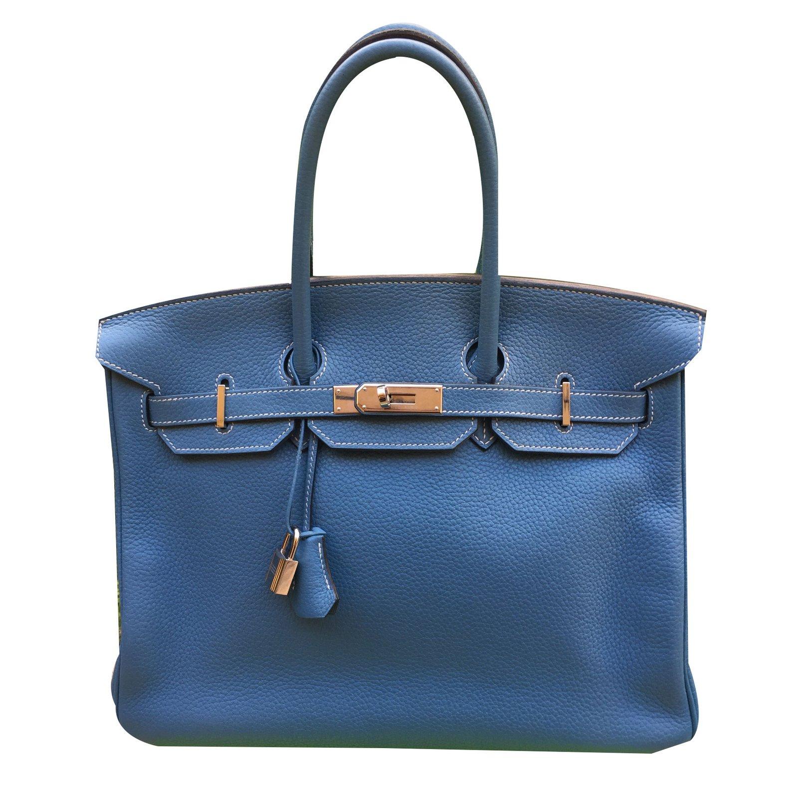 Hermès Birkin 35 Handbags Leather Blue ref.57647 - Joli Closet