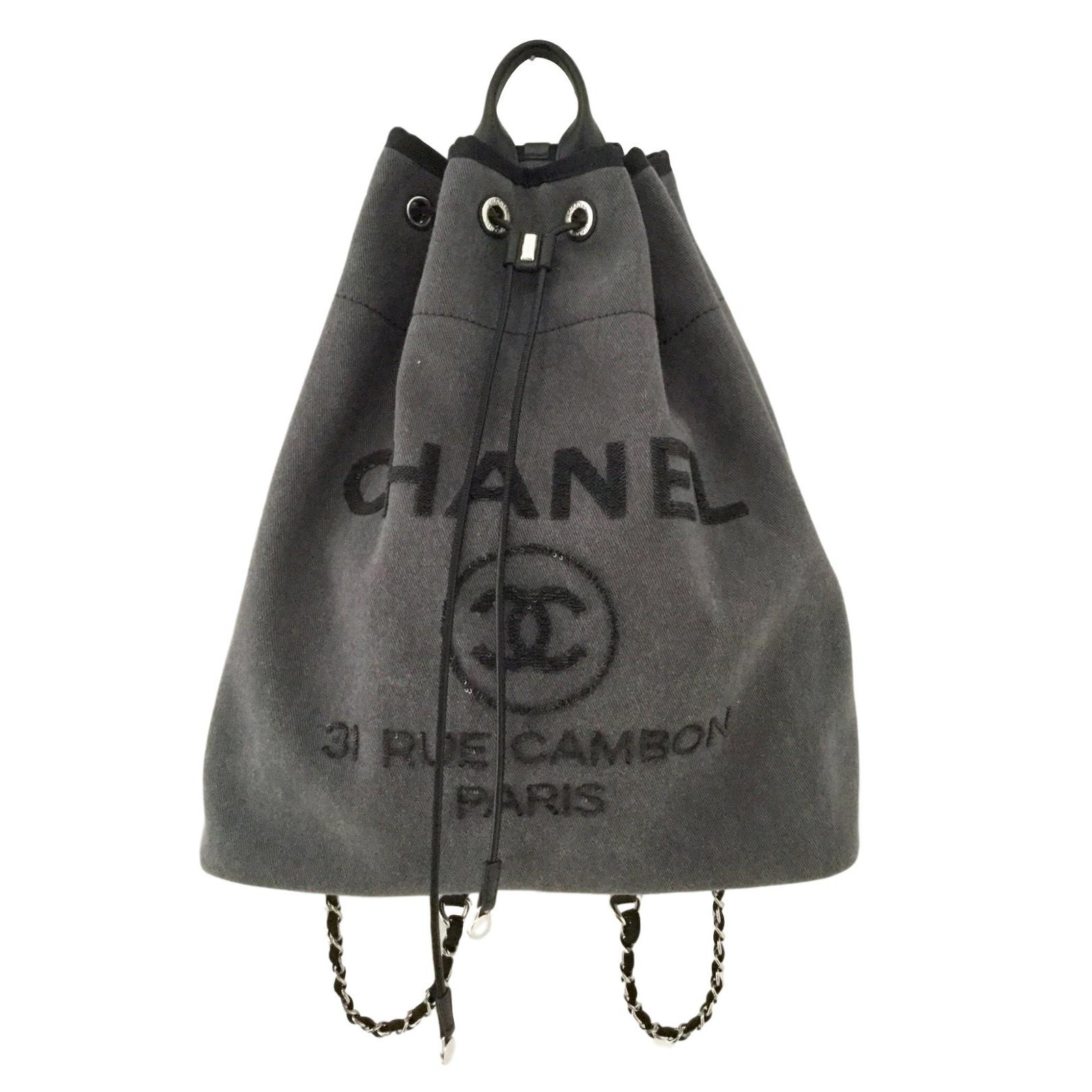 b445a17e6 Chanel Deauville Canvas Drawstring Backpack Bag | Building Materials ...