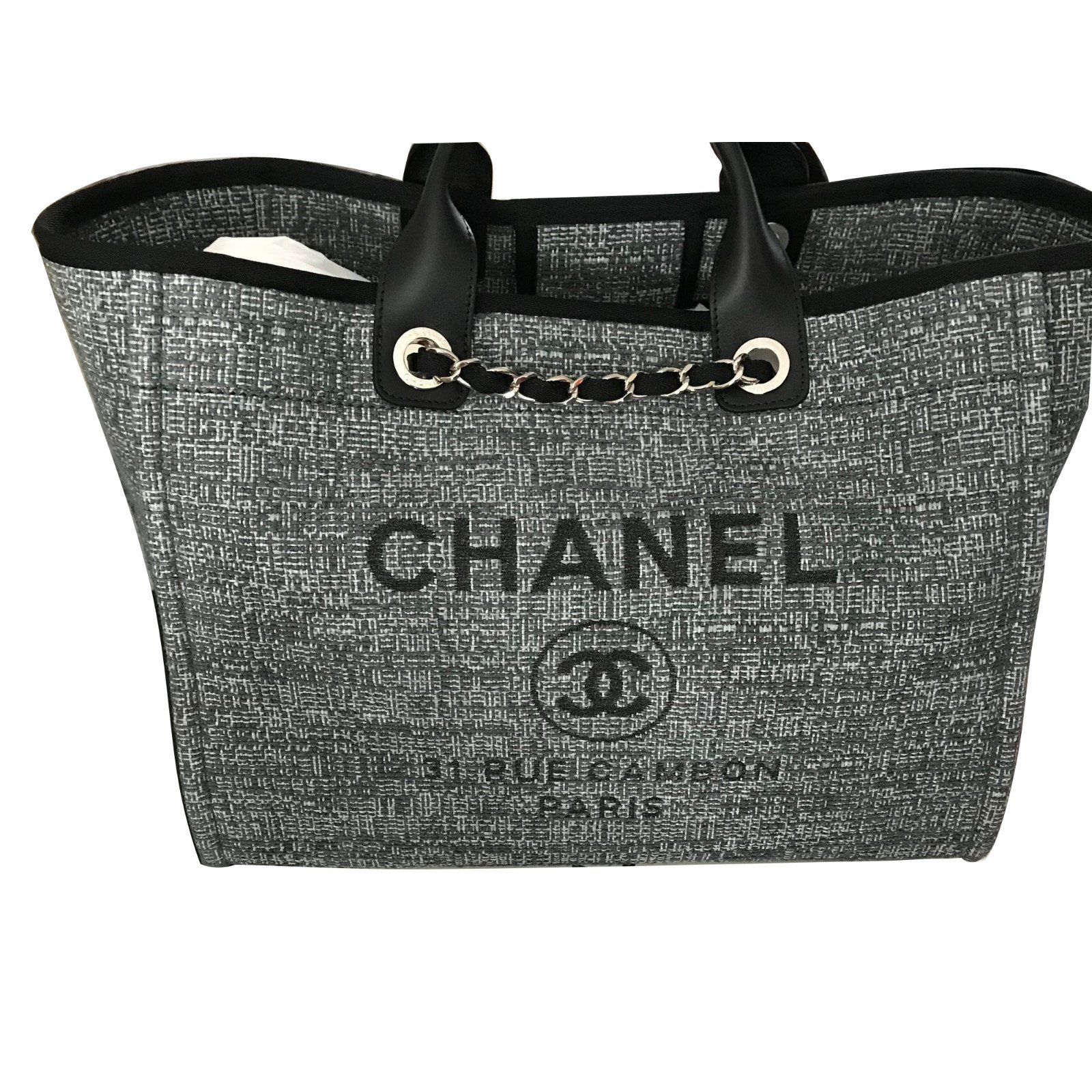 5a3119314430 Chanel Chanel Deauville Large Tote Bag NEW 2018 - Grey with Glitter! Handbags  Cloth Grey