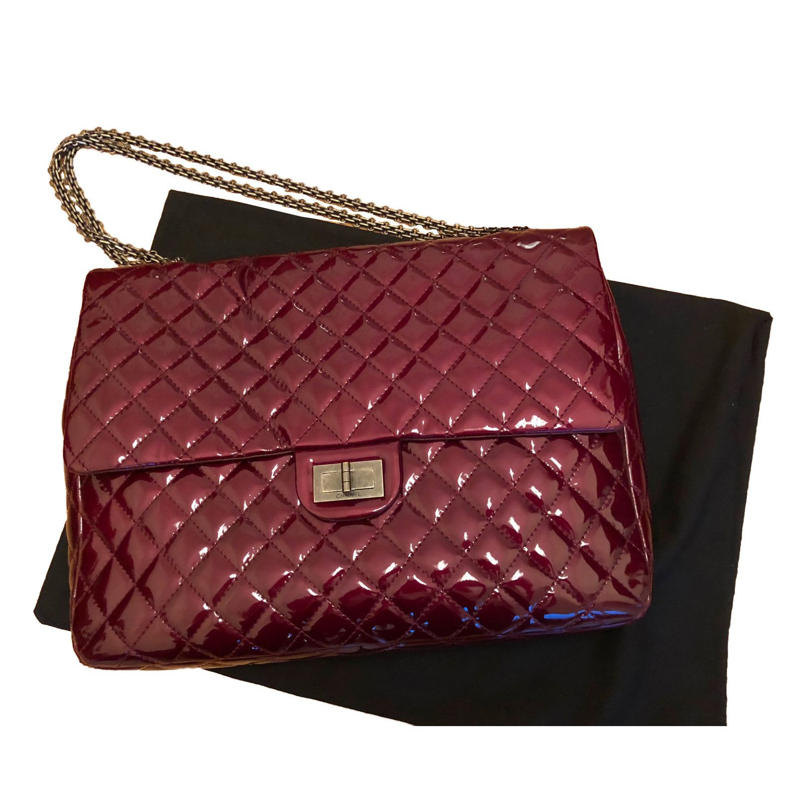 Chanel Burgundy Patent 2 55 Reissue Bag Handbags Leather Dark Red Ref 57839
