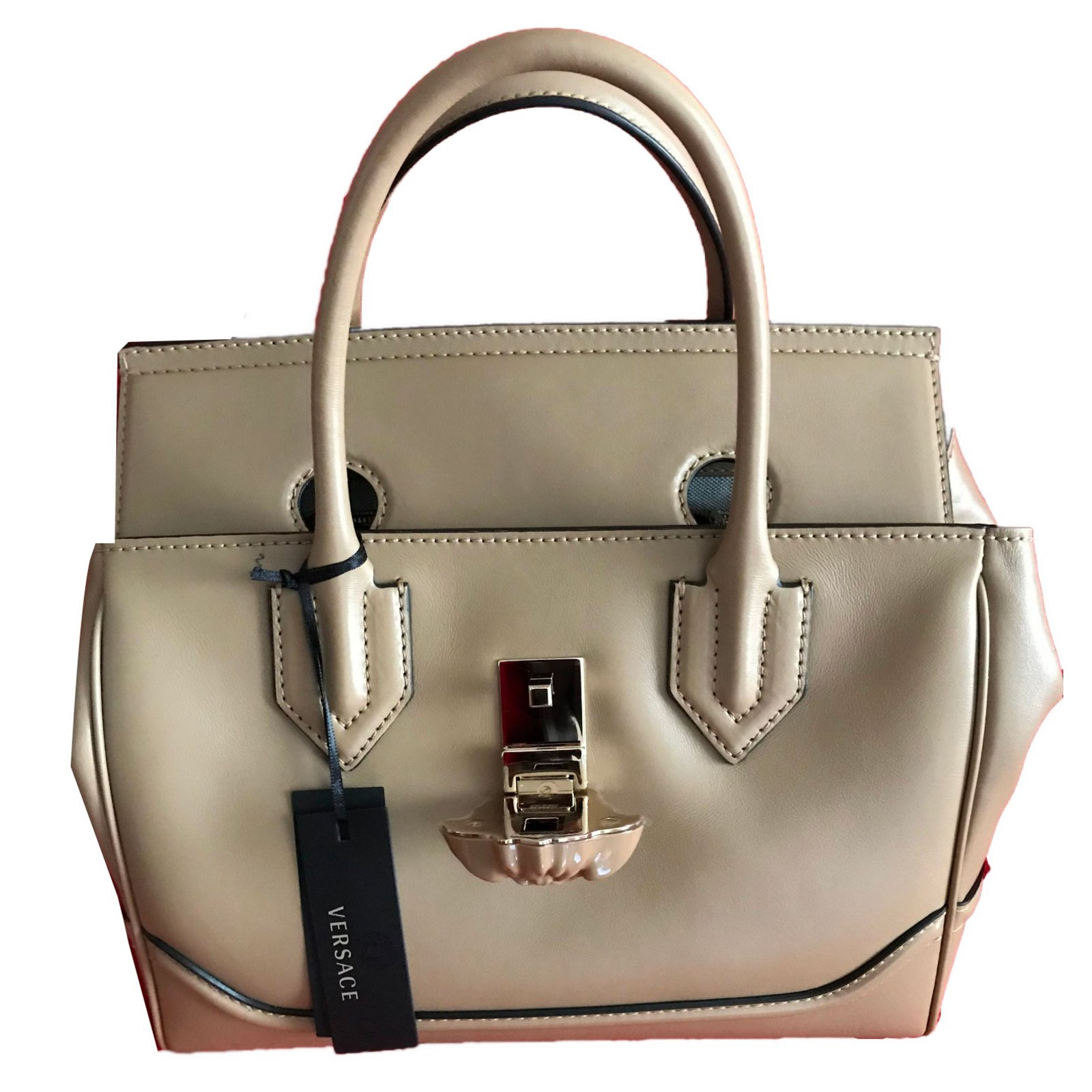 23dd47615e1c Gianni Versace VERSACE palazzo empire large - BEIGE Handbags Leather Beige  ref.57953