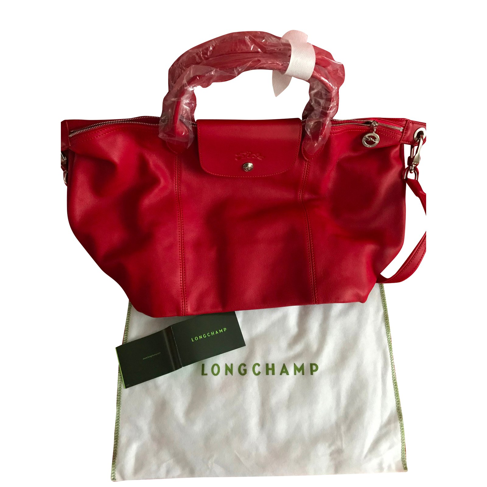 Le Pliage Cuir leather shopper - Red- New with tags
