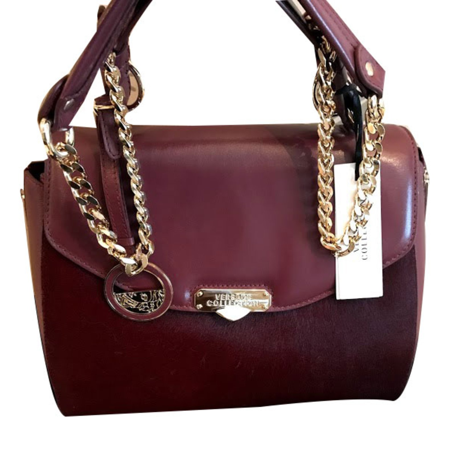 83afc8f7d050 Versace Versace Collection Large Top Handle Calf Hair   Leather Bag - New!  Handbags Leather