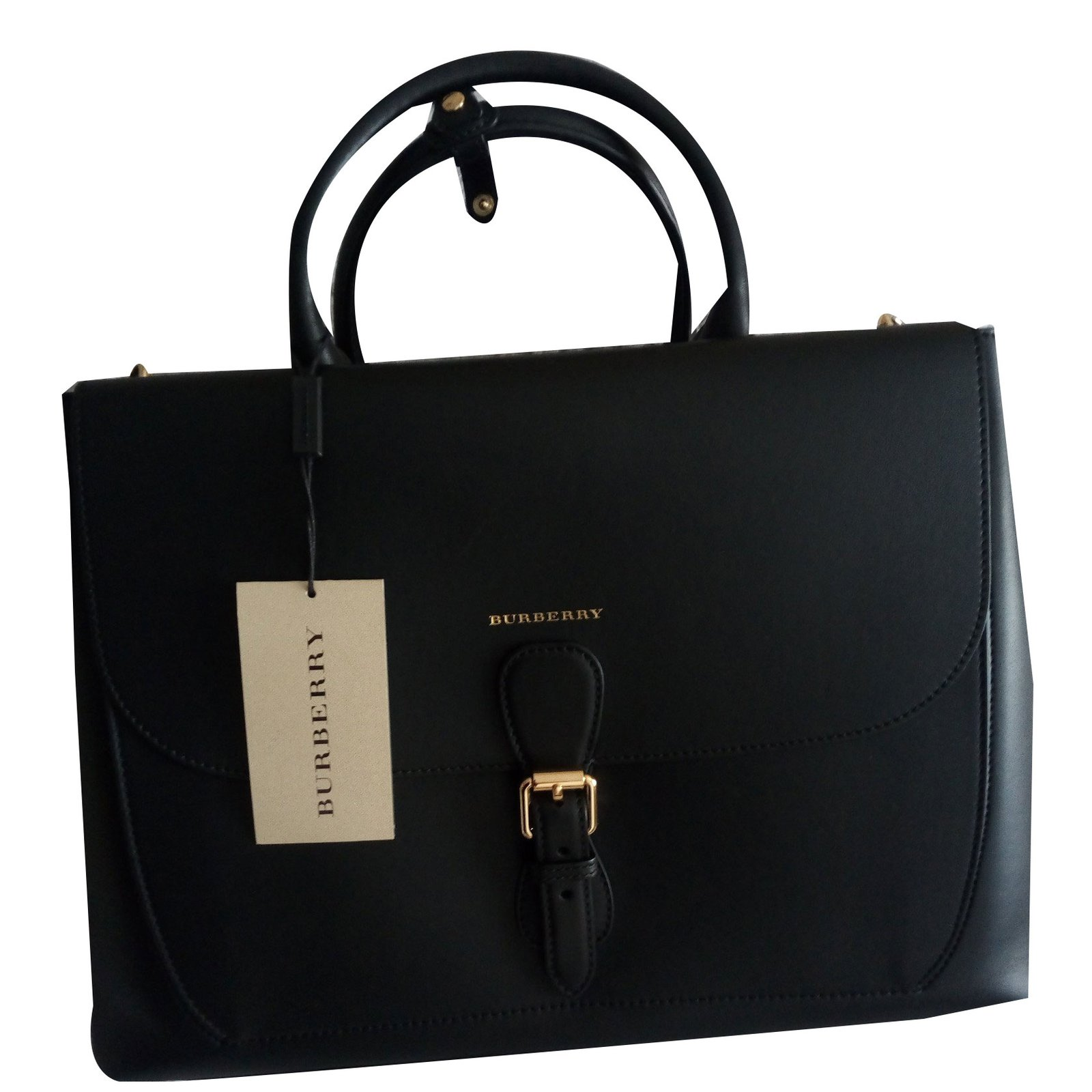 Burberry Signature Large Leather Saddle Bag In Black Handbags Ref 58342