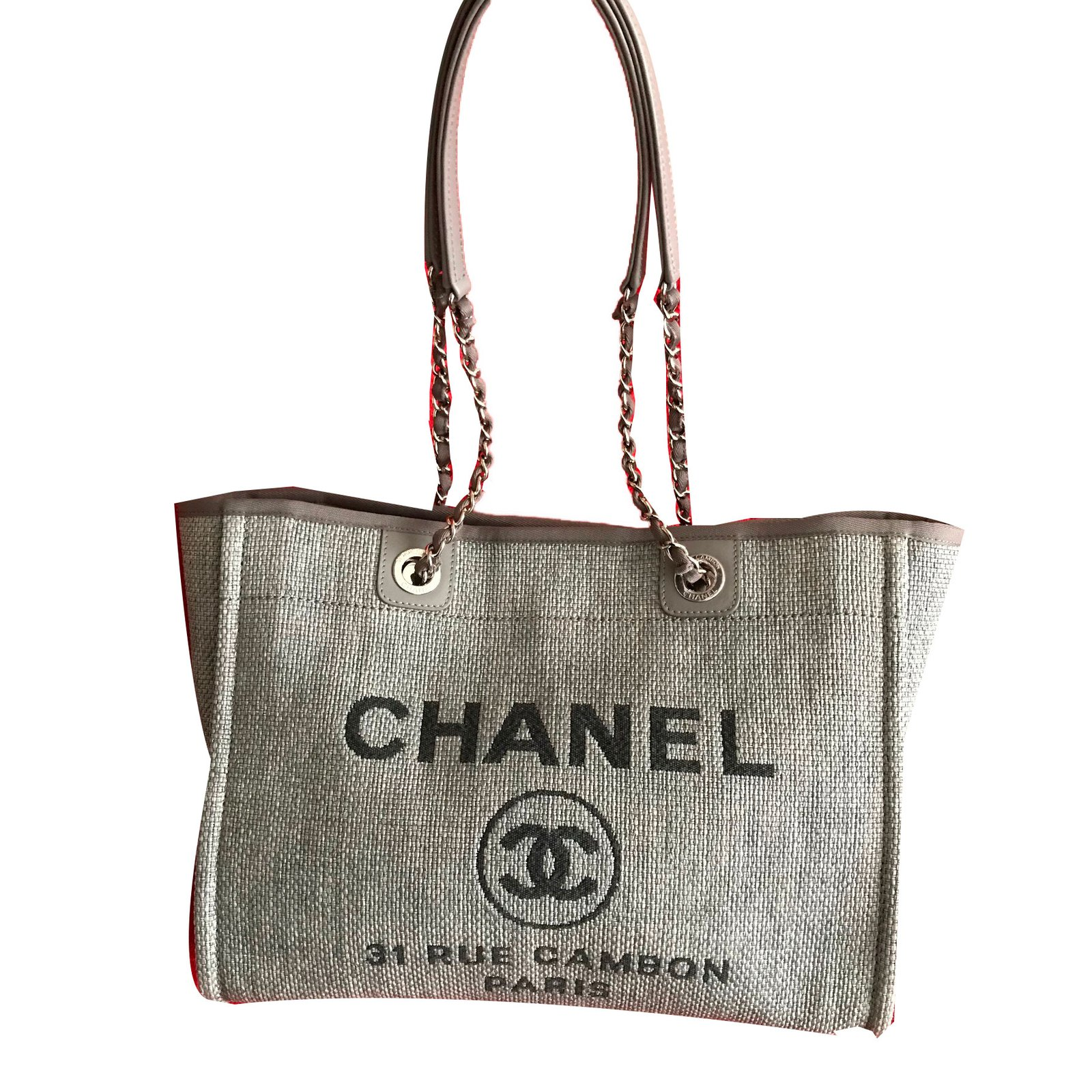 d6c18d789c6b Chanel CHANEL Deauville Tote in Grey Canvas Handbags Cloth Grey ref.58349