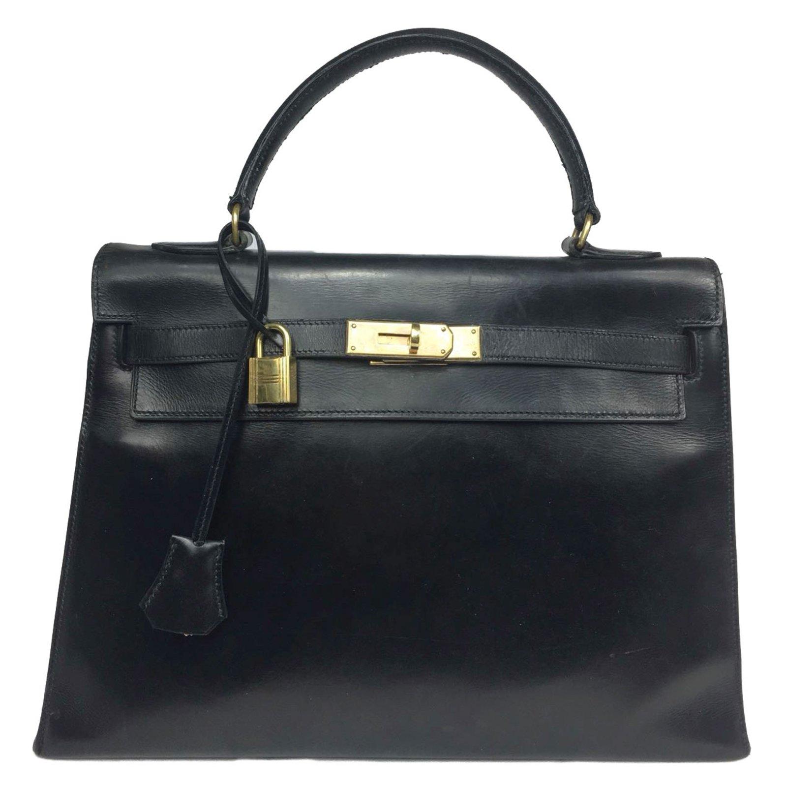 1524cfa604 Hermès Kelly sellier 32 vintage Handbags Leather Black ref.58488 ...
