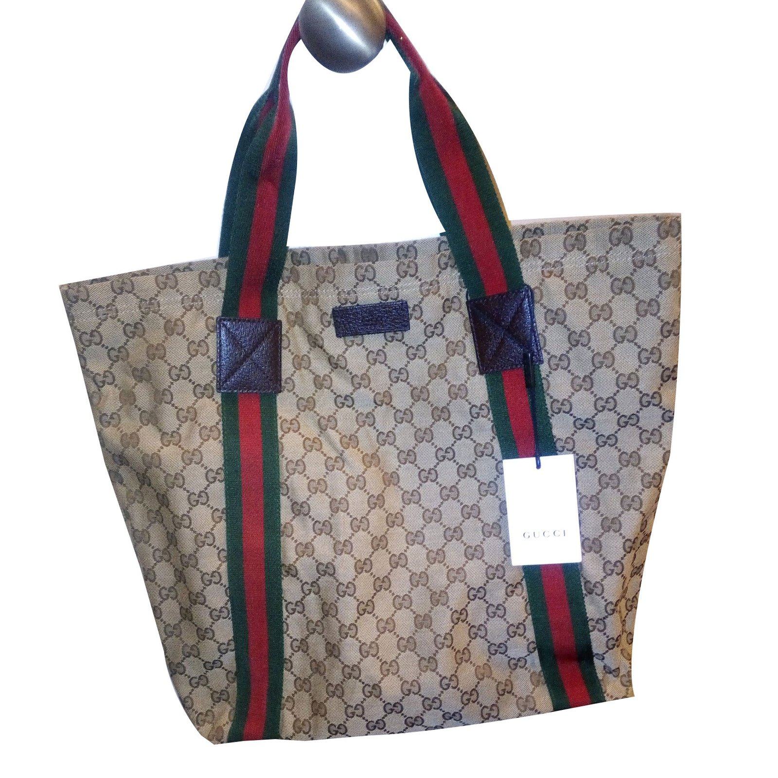 Gucci Gg Web Detail Canvas Beige Tote Bag New With Tags Handbags Cloth