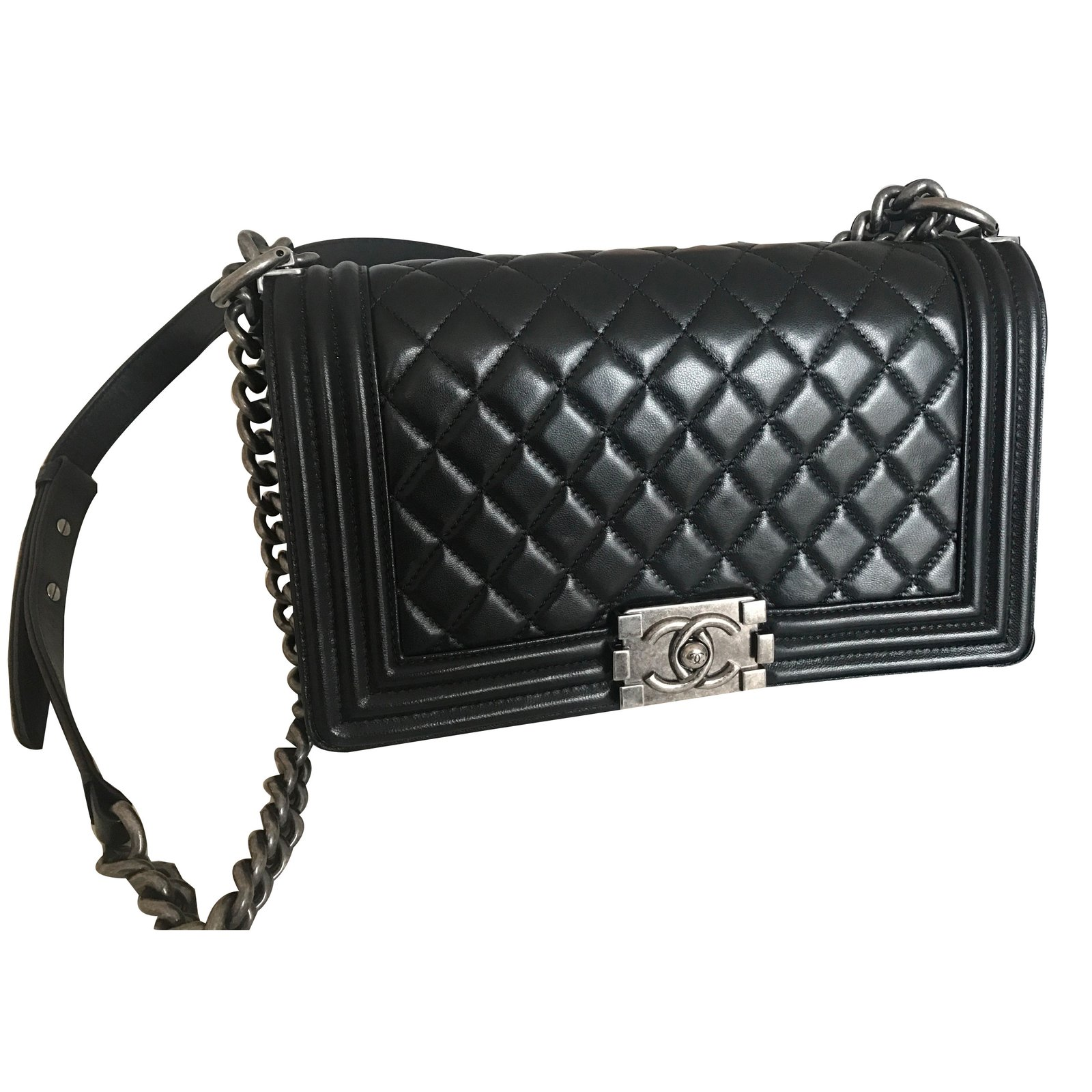 Chanel Le Boy Bag Handbags Leather Black Ref 58777