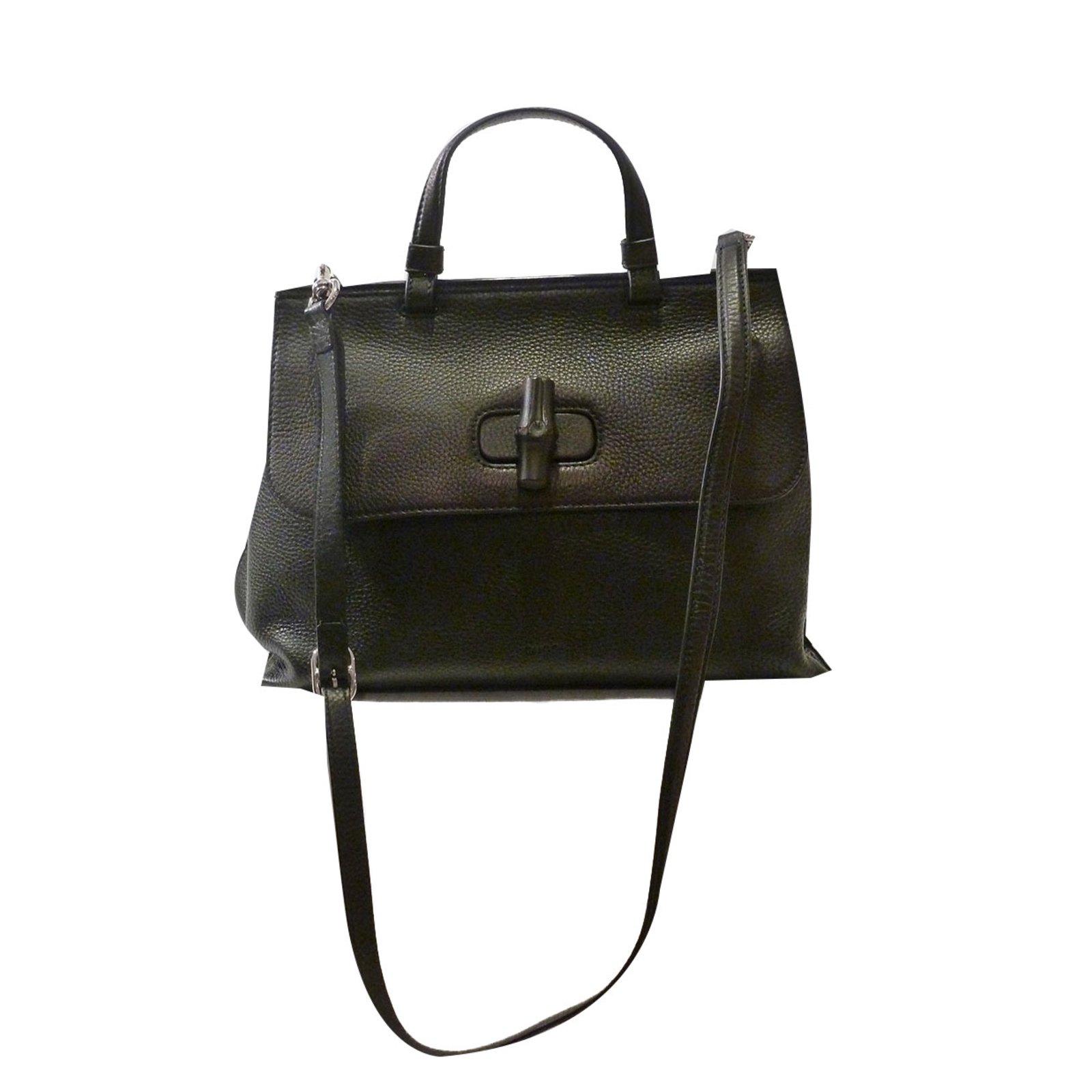 Gucci Medium Bamboo Daily Top Handle Satchel Handbags Leather Black Ref 58878