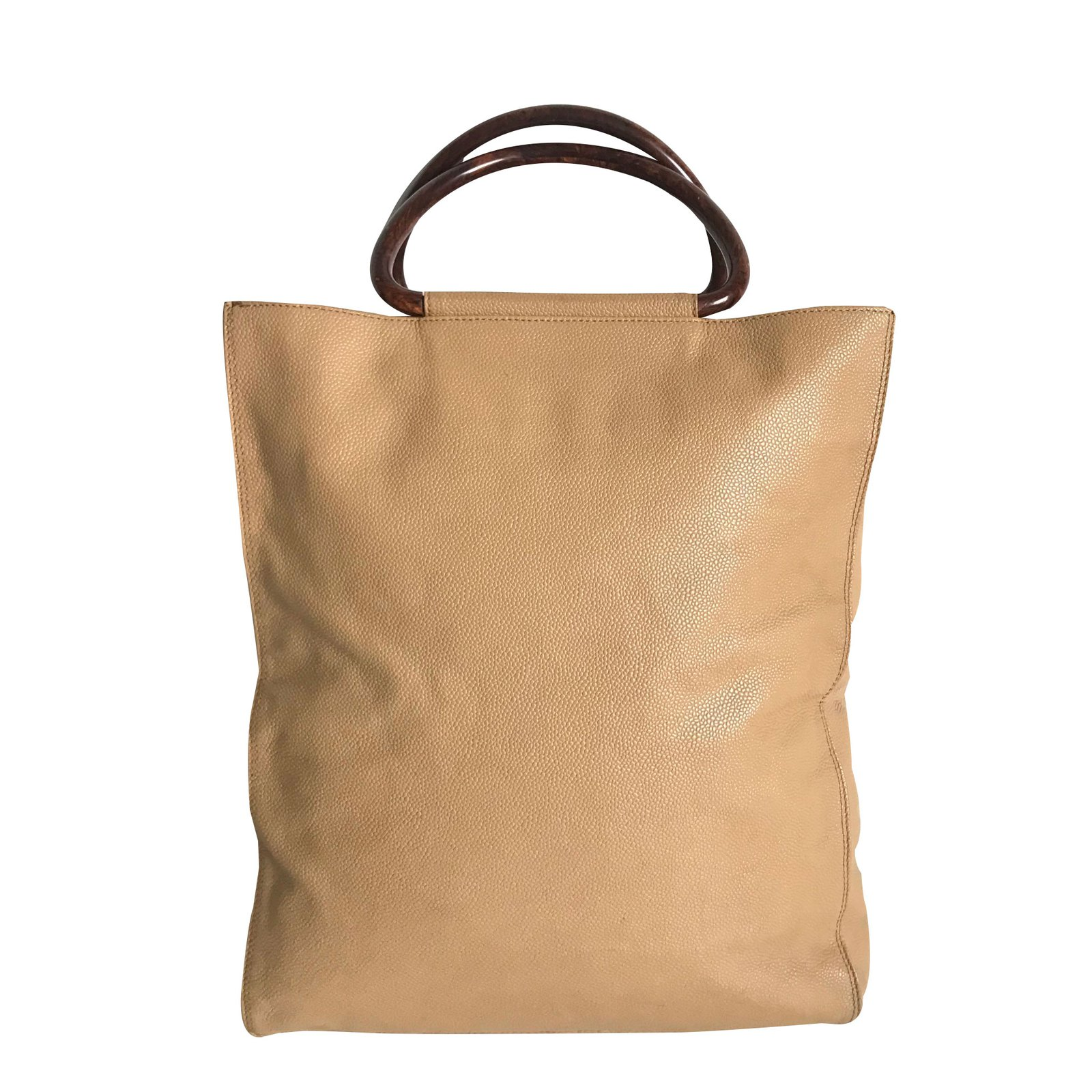 Chanel Beige Caviar Leather X Wooden Handle Tote Bag Handbags Brown Ref