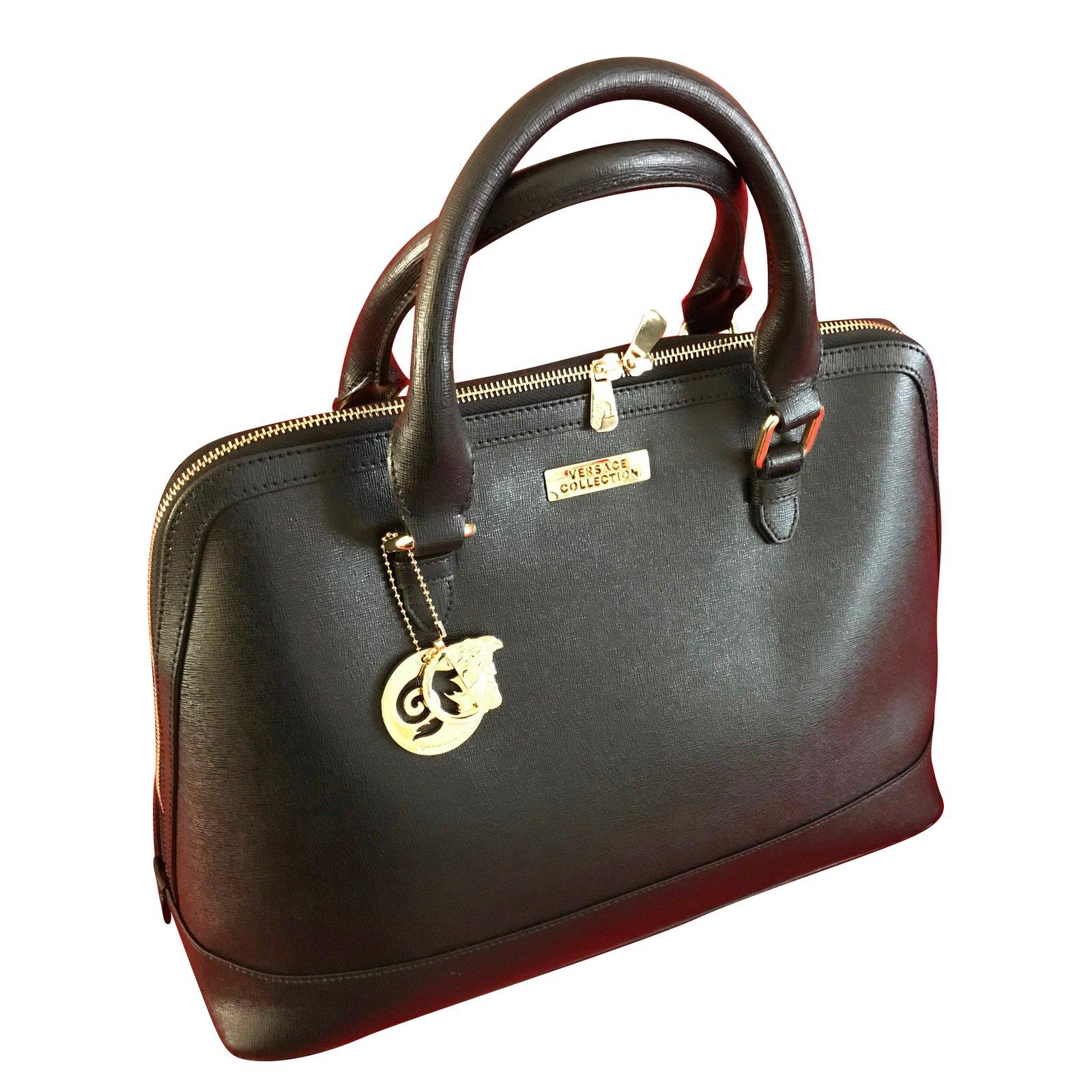 Versace Collection Vitello Stampa Saffiano Nero Oro Chiaro Large Handbags Leather Black Ref