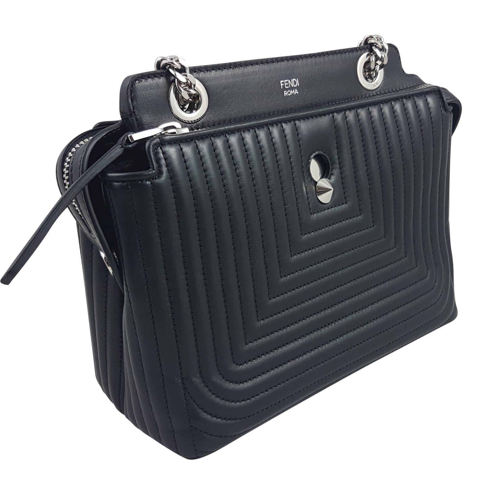 5ded40d572fe ... real fendi black dotcom quilted leather small shoulder bag handbags  leather black ref.59430 b6f88