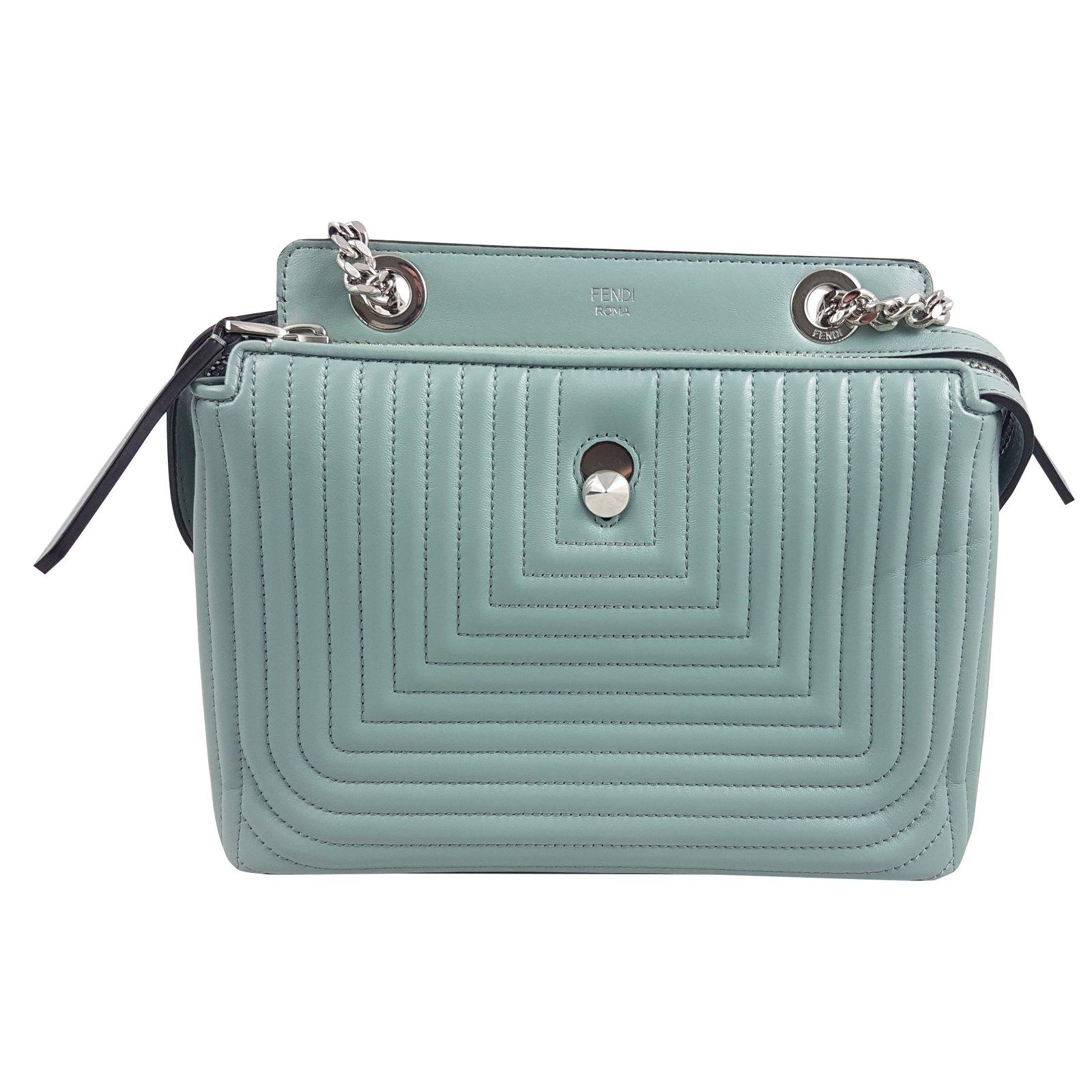 0fff0ef1000d ... sale fendi blue pale dotcom quilted leather small shoulder bag handbags  leather blue ref.59432