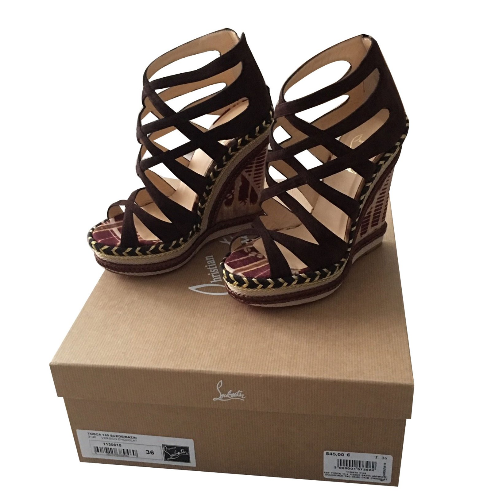 4f9911fbec91 ... promo code christian louboutin tosca 140 suede bazin sandals leather  brown ref.59750 48a56 fbb96
