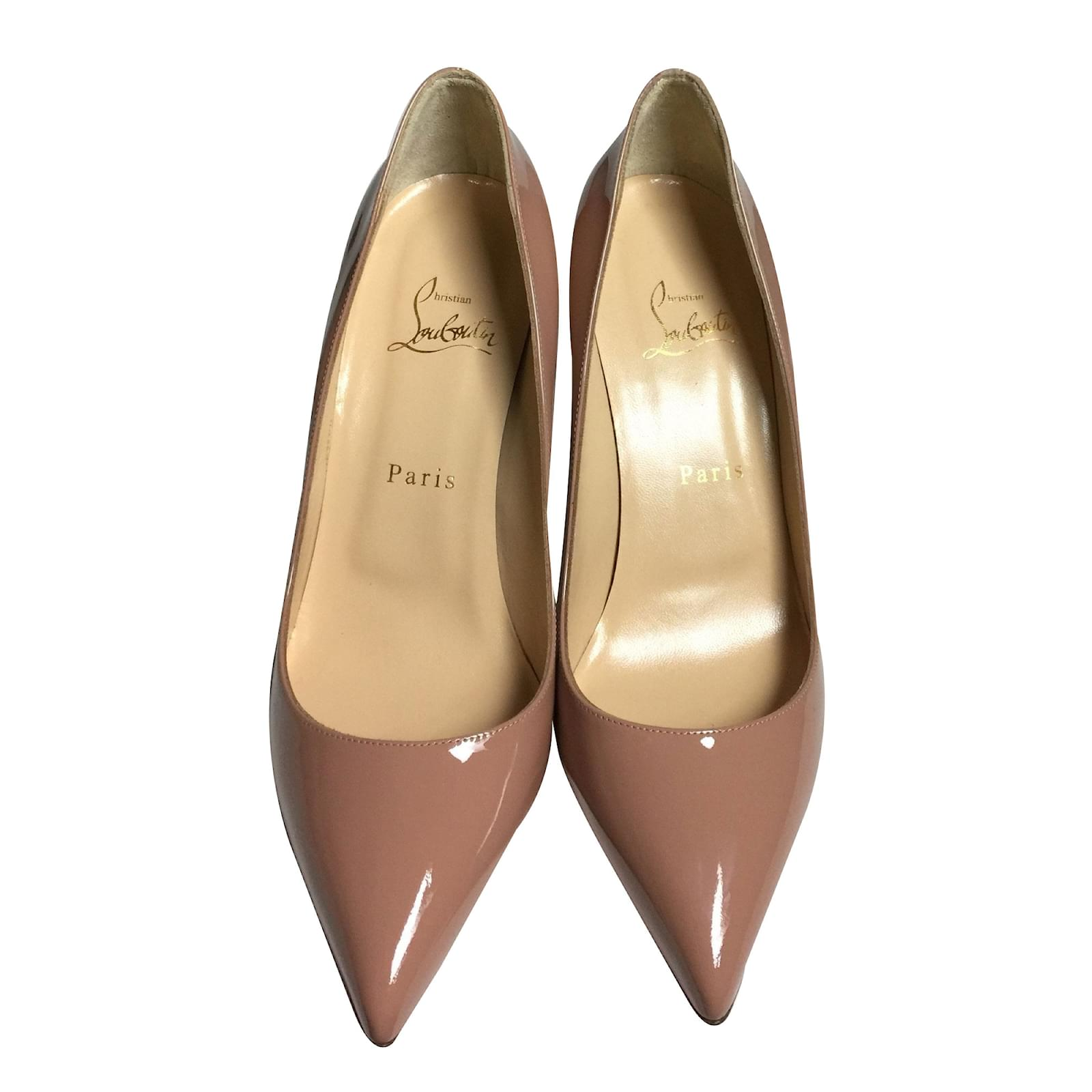 low priced 7b986 2b822 Pigalle Nude Patent Leather 85 mm Heels