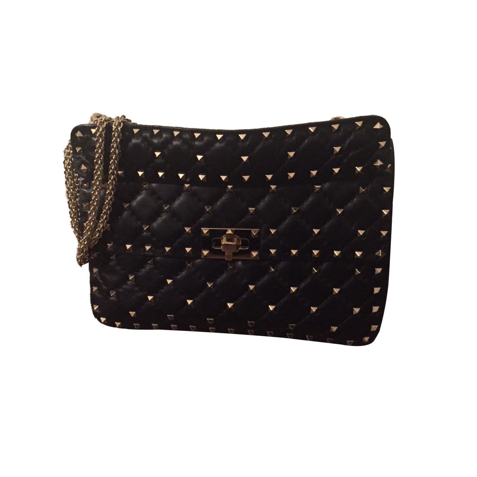 e5b827ad076 Valentino Garavani rockstud spike Handbags Leather Black ref.59963 ...