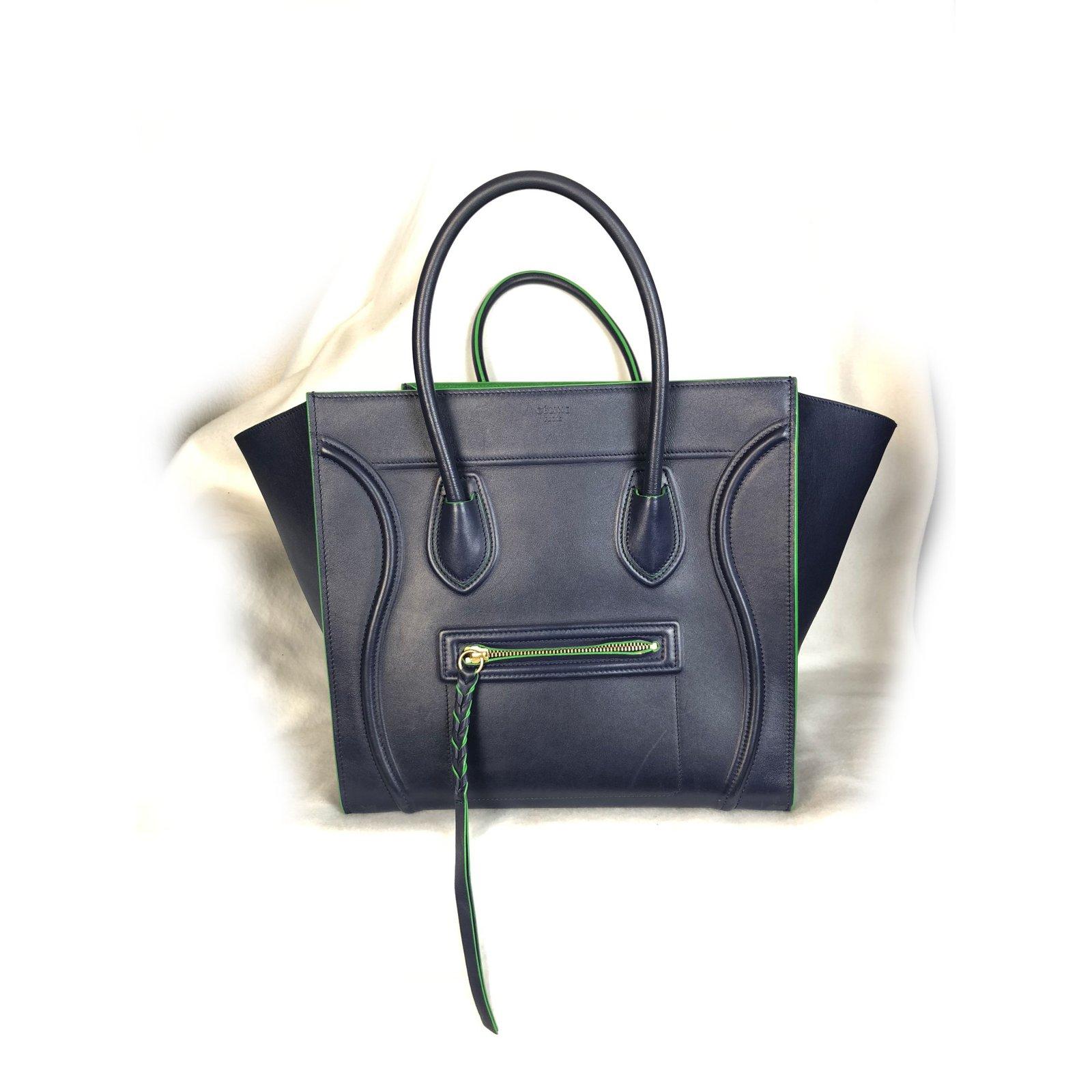 Céline Phantom Handbags Leather Blue ref.60057 - Joli Closet 4f0f11466778e