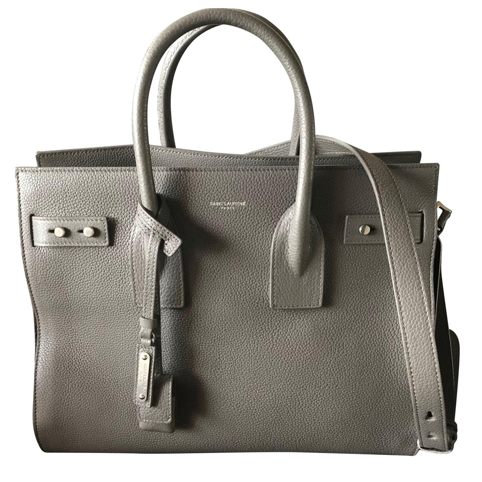 Saint Laurent Sac de jour Handbags Leather Grey ref.60129 - Joli Closet 55ea1311eef7