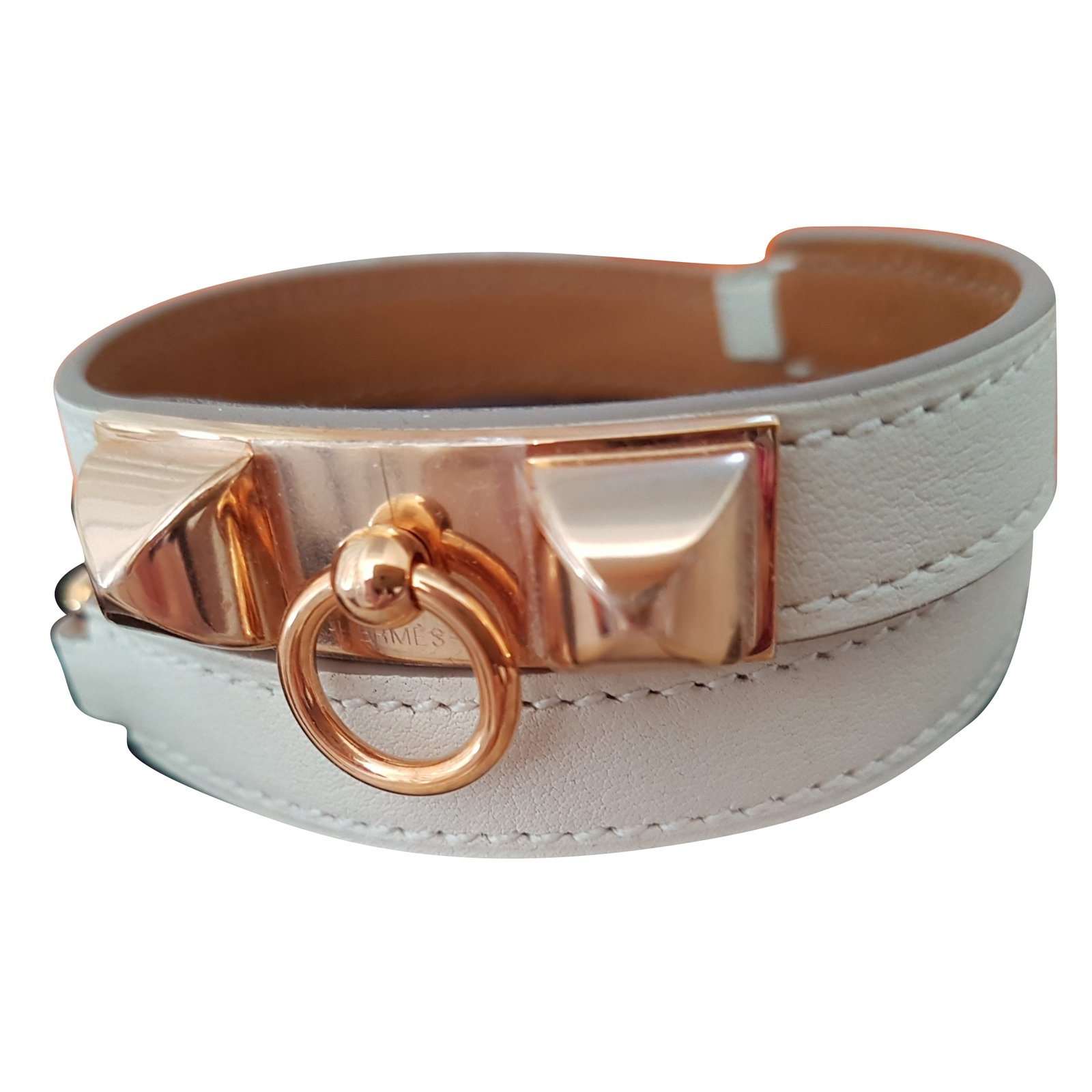 d7ac139d24a ... where can i buy hermès hermes rivale double tour bracelets leather  white ref.60158 874fa