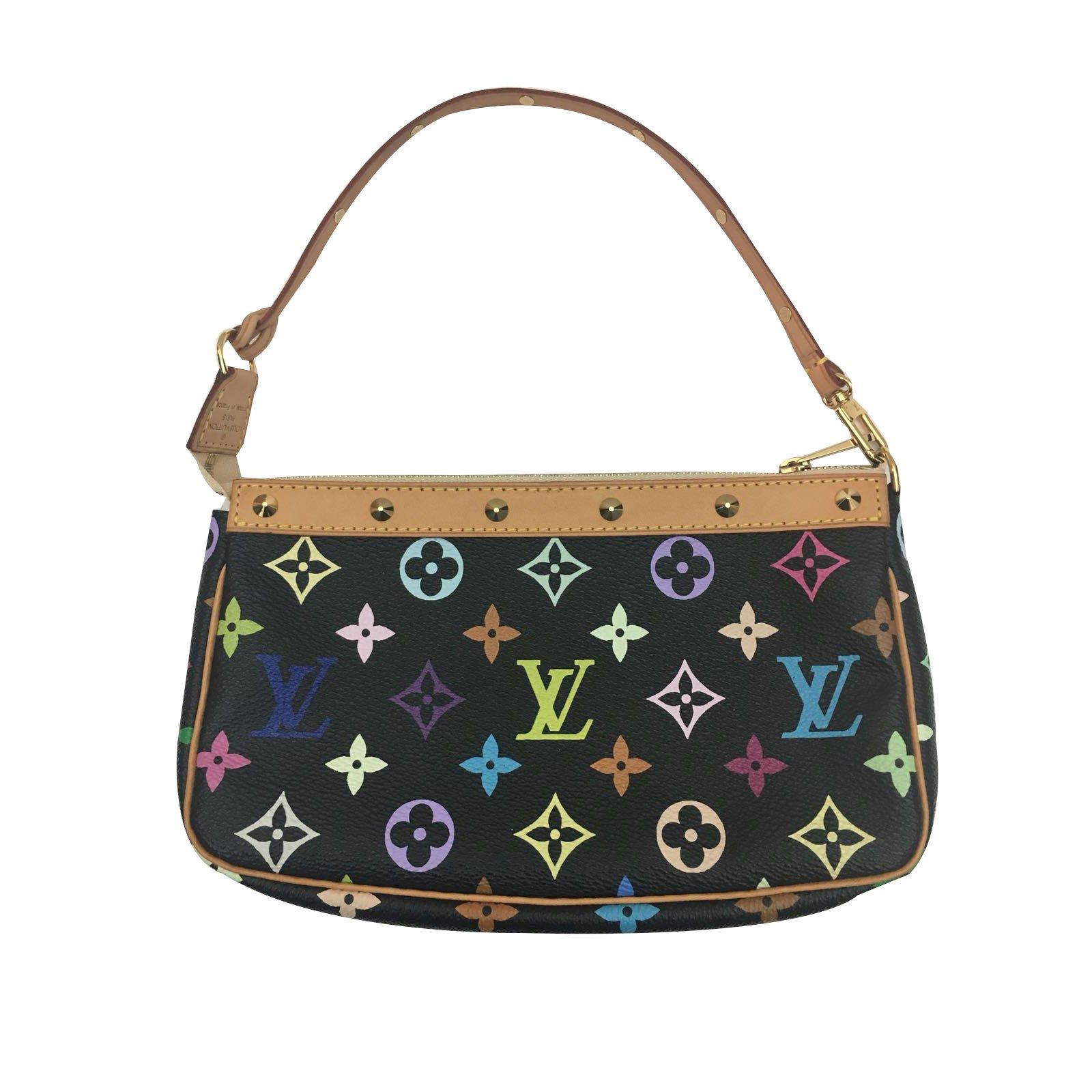 f16656680f5a Louis Vuitton Clutch Bags Leather Cloth Black Multiple. Louis Vuitton  Monogram Multicolore Alma Pm Bag