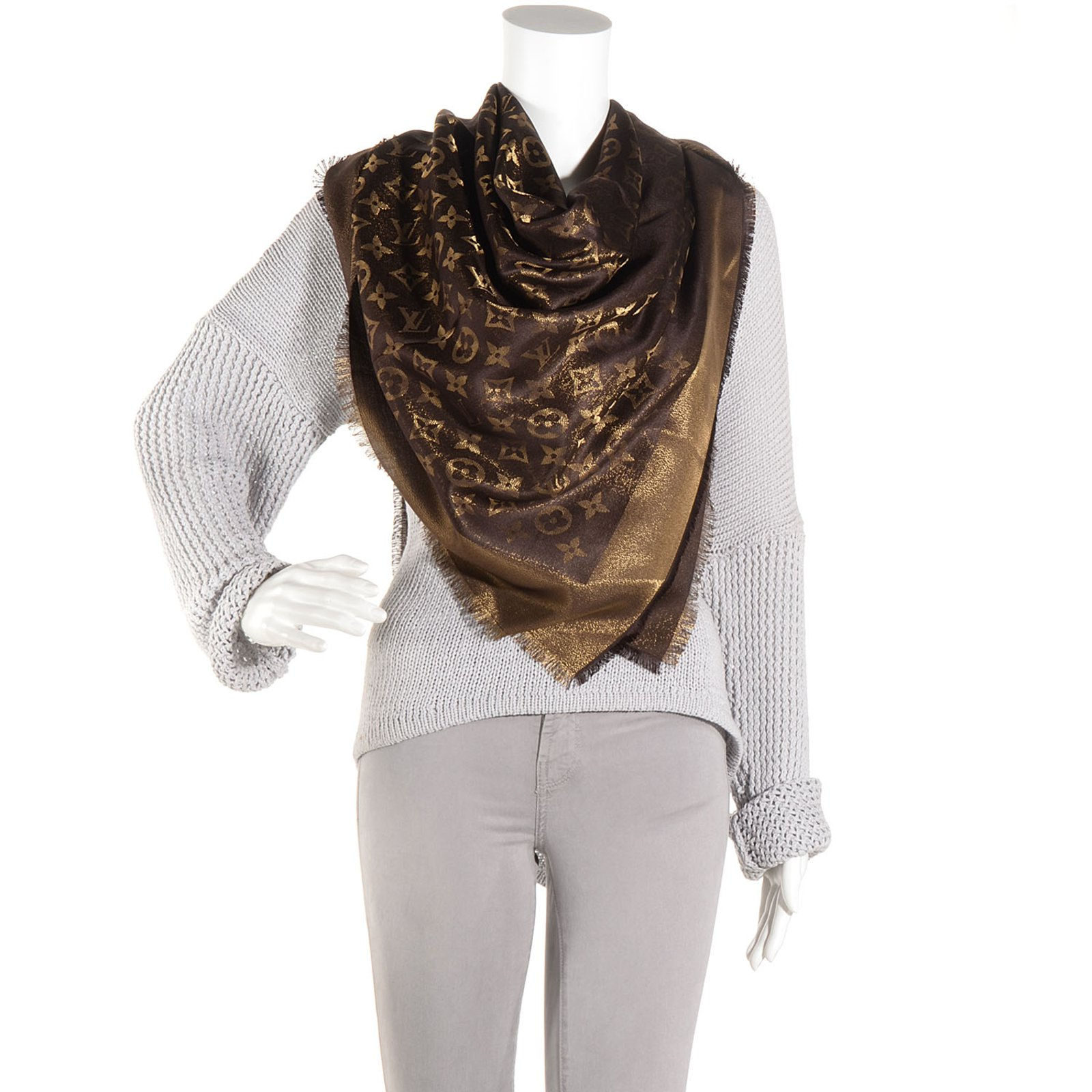 afad987474e2c Louis Vuitton Louis vuitton shawl monogram shine brown Scarves Other Brown  ref.60609