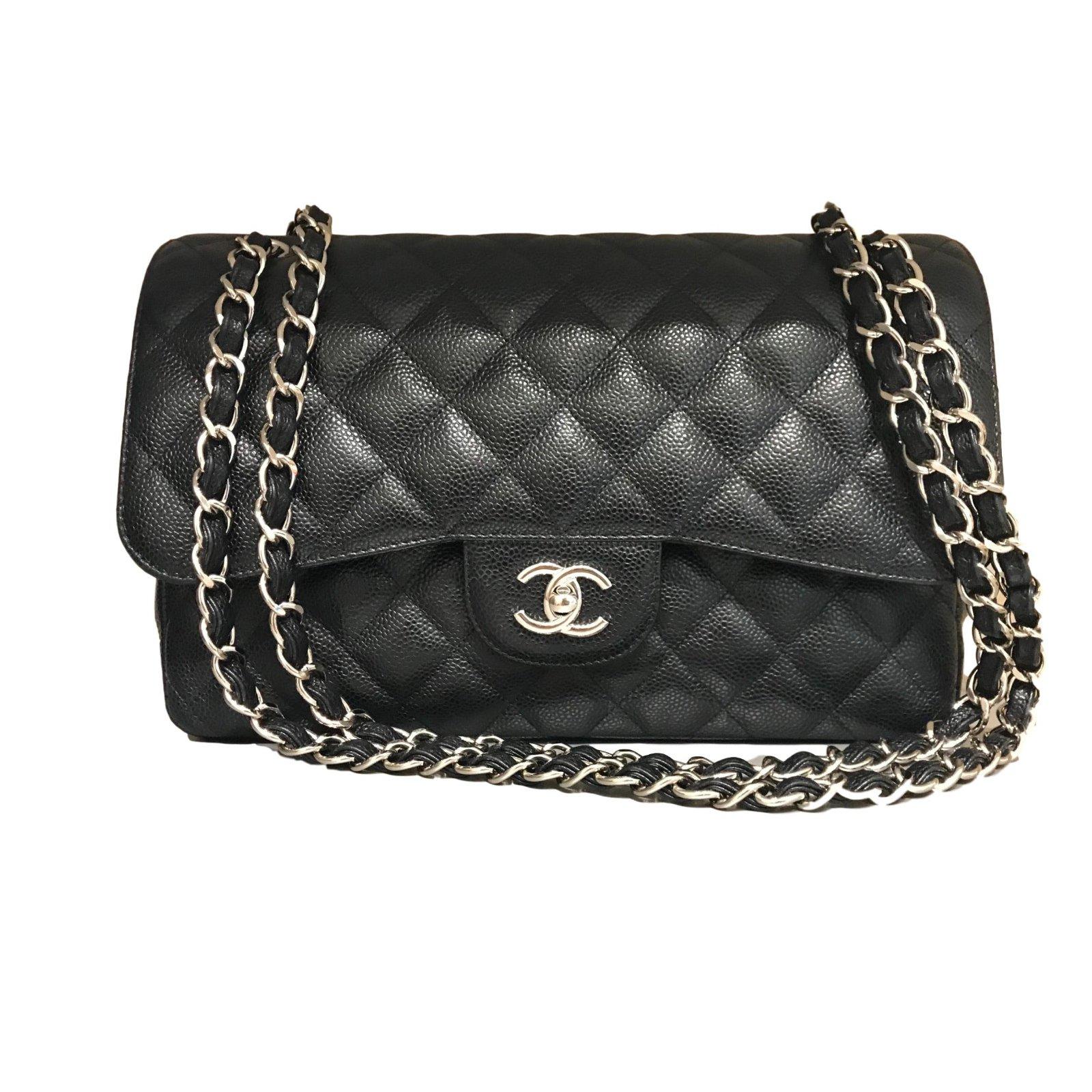 chanel timeless handbags leather black joli closet. Black Bedroom Furniture Sets. Home Design Ideas