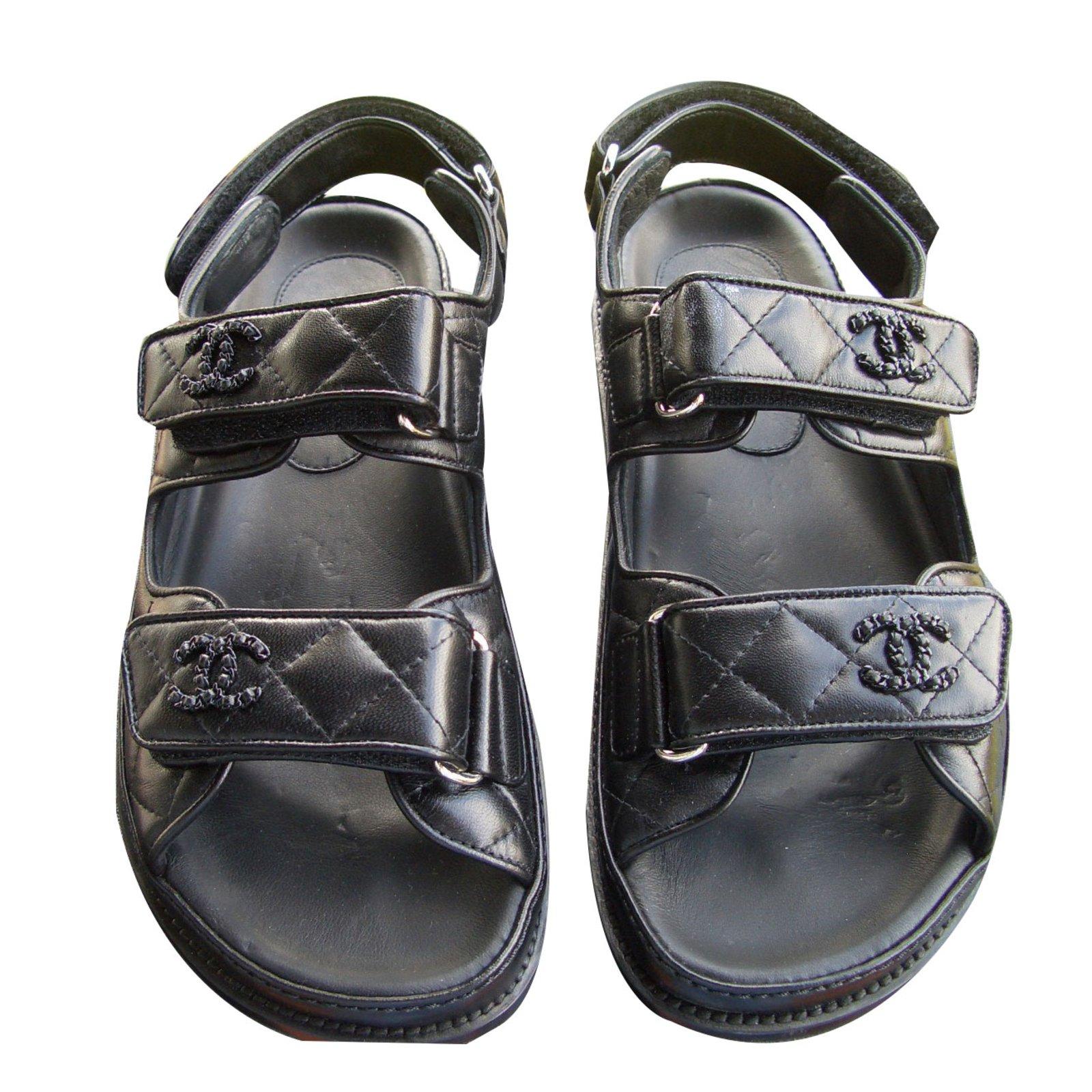 54ebfd3bc7a3 Sandales Chanel sandales Cuir Noir ref.61192 - Joli Closet