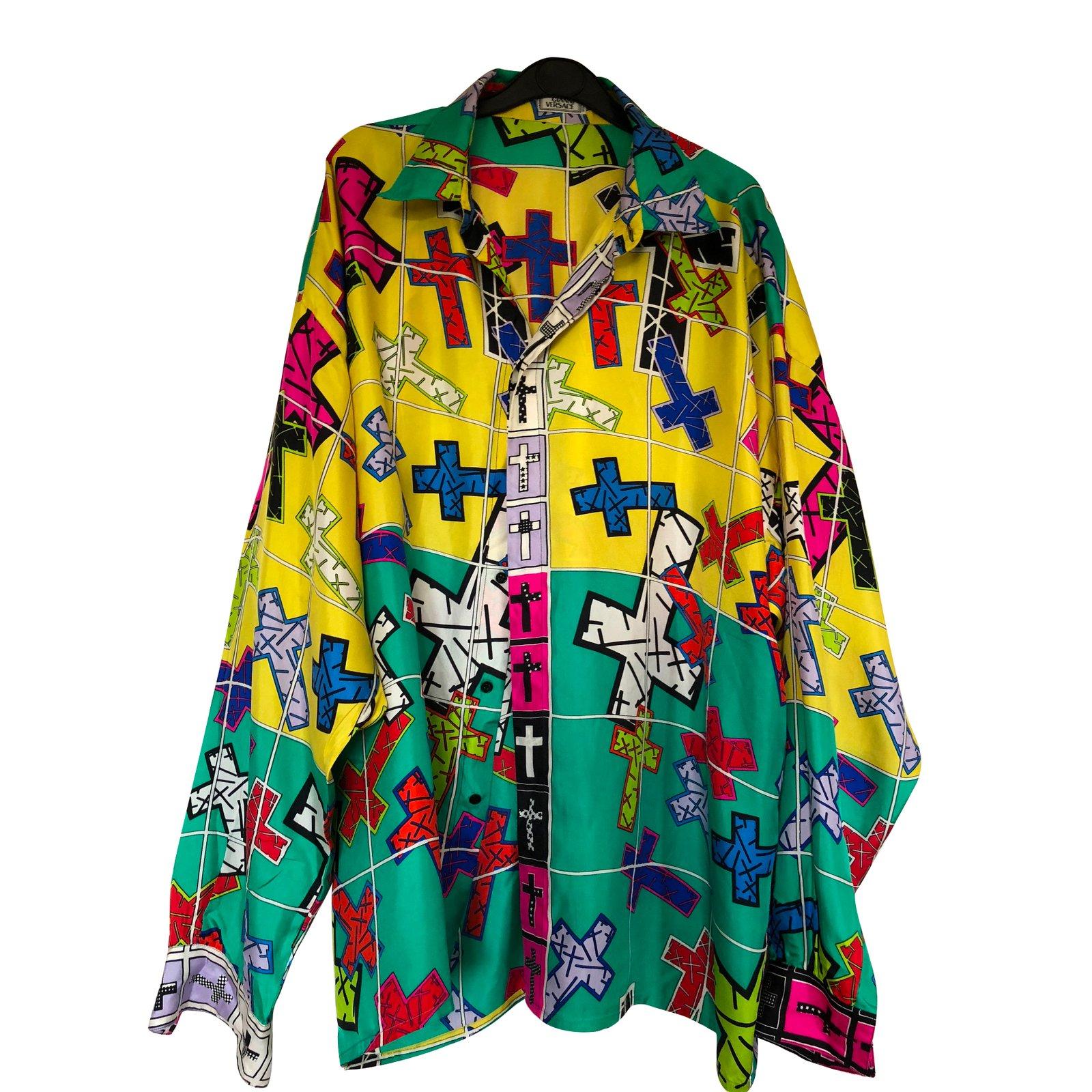 Chemises Gianni Versace Chemise motif à croix Polyester Multicolore  ref.61557 d0e3d4a24fd