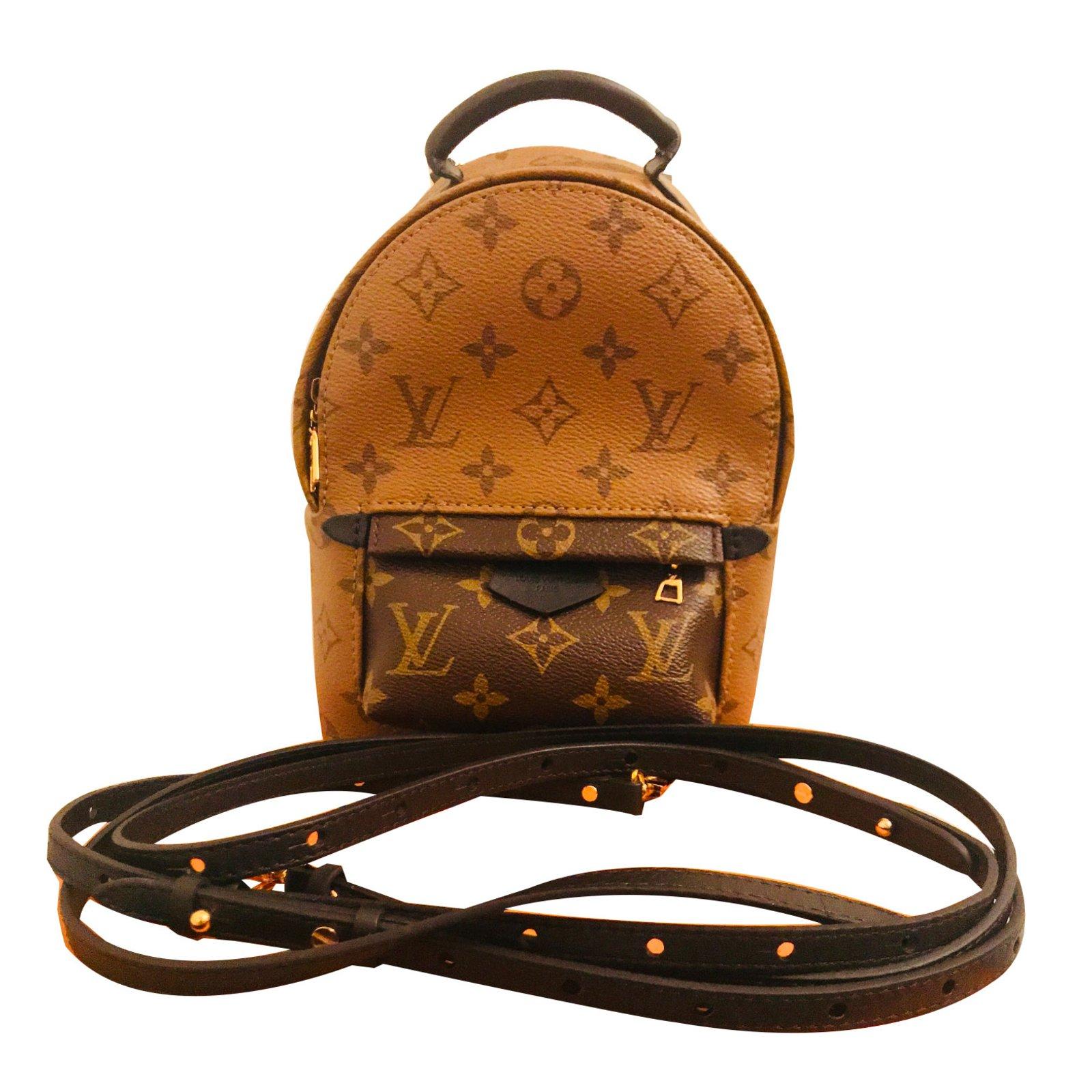 Sacs 224 Dos Louis Vuitton Palm Springs Mini Cuir Caramel