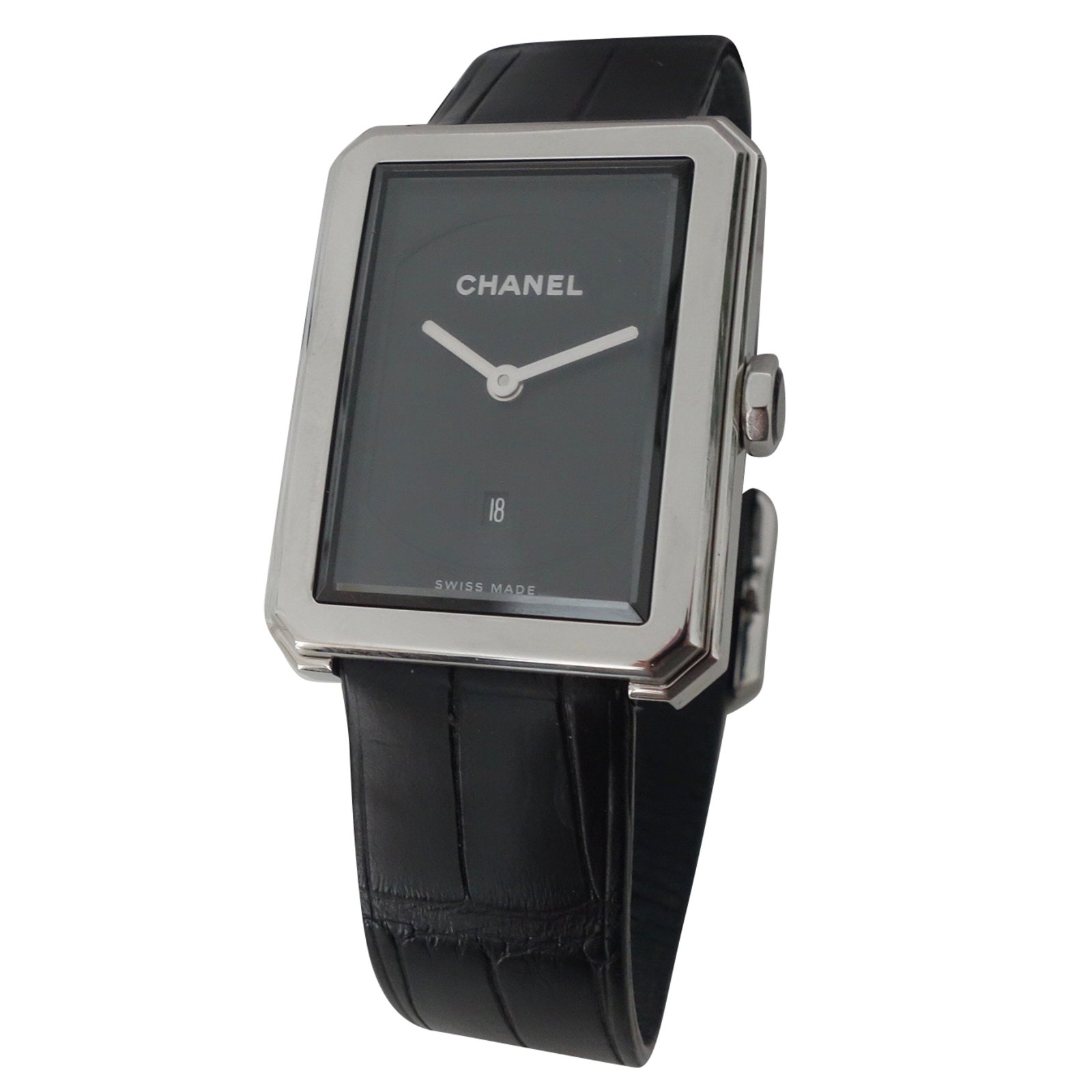 cb81aaf537ec Chanel BOY-FRIEND Fine watches Steel,Exotic leather Black ref.62716 ...