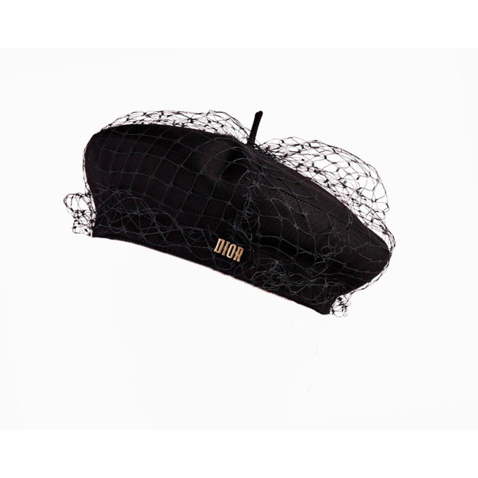 Christian Dior Black Runway Beret Hats Cotton Black ref.62859 - Joli ... 7bab7ebb82b