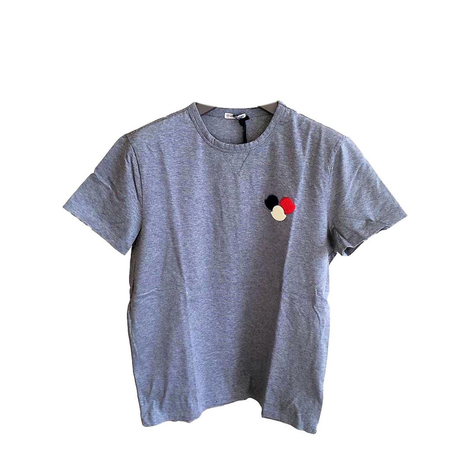 Moncler Moncler basic men's t-shirt Tees Cotton Grey ref.63018