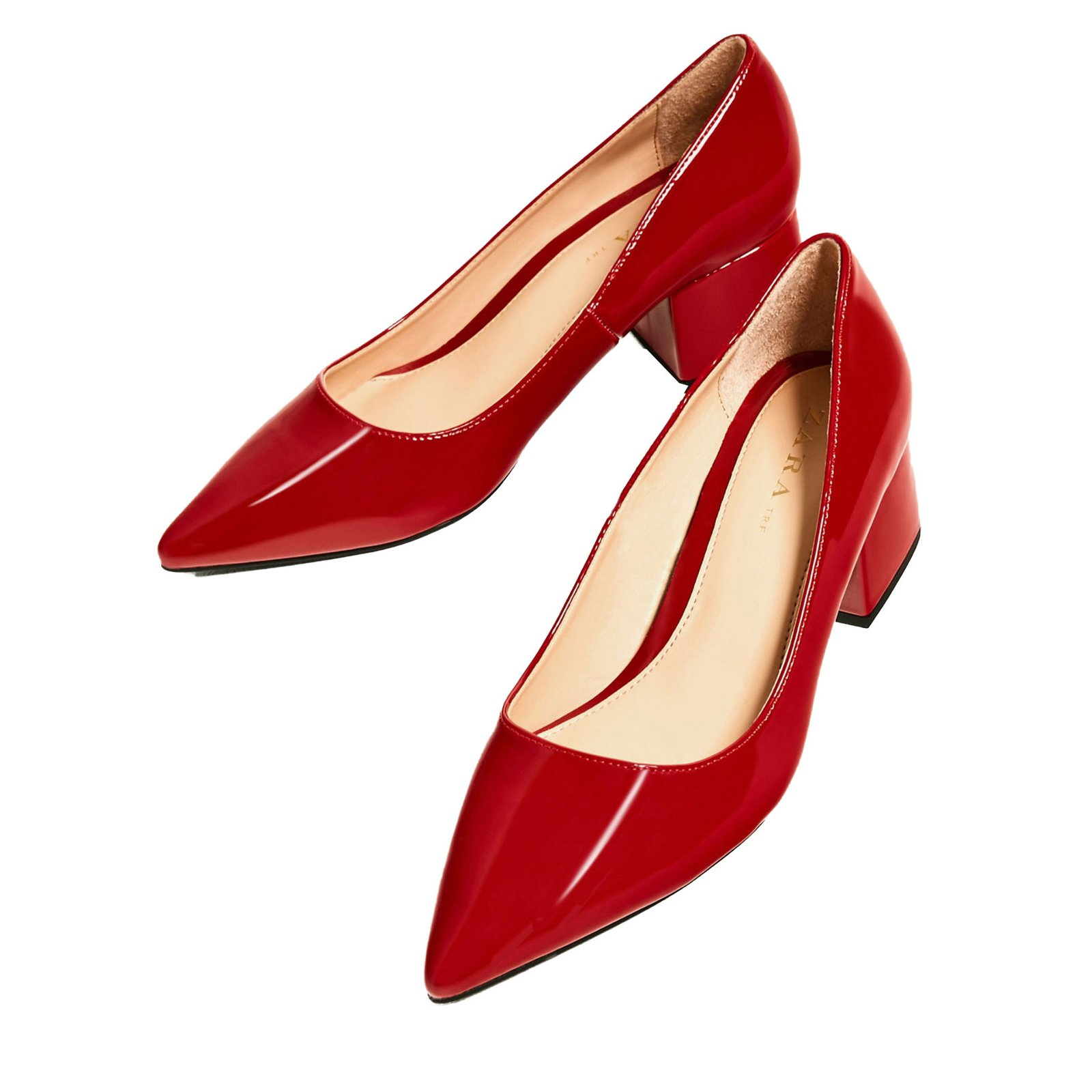 f0a6a19e9ac Zara Vegan patent leather block heels Heels Synthetic Red ref.63529 ...