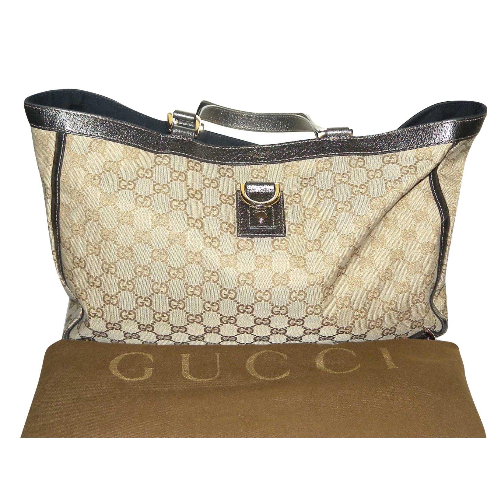 519e0b8646da Cabas Gucci Cabas en toile suprême crème et cuir gris irisé Cuir,Toile  Argenté,