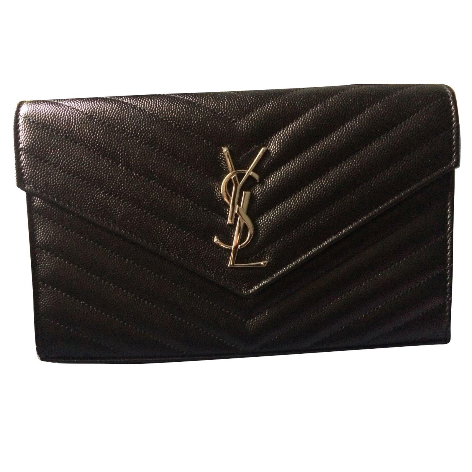 f49ce83d9b9 Yves Saint Laurent Clutch bags Clutch bags Leather Black ref.64718 ...