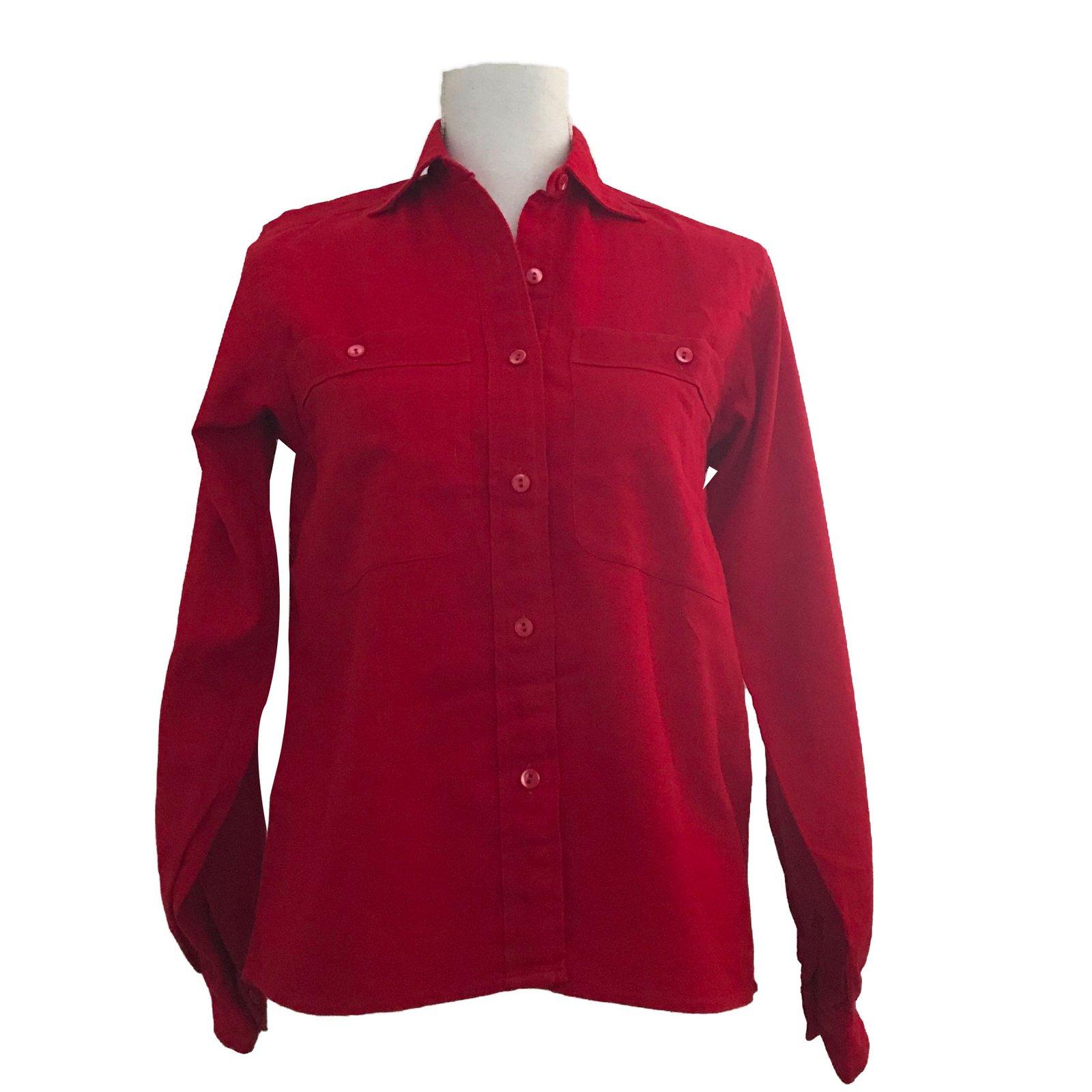 tops yves saint laurent chemise coton laine rouge ref. Black Bedroom Furniture Sets. Home Design Ideas