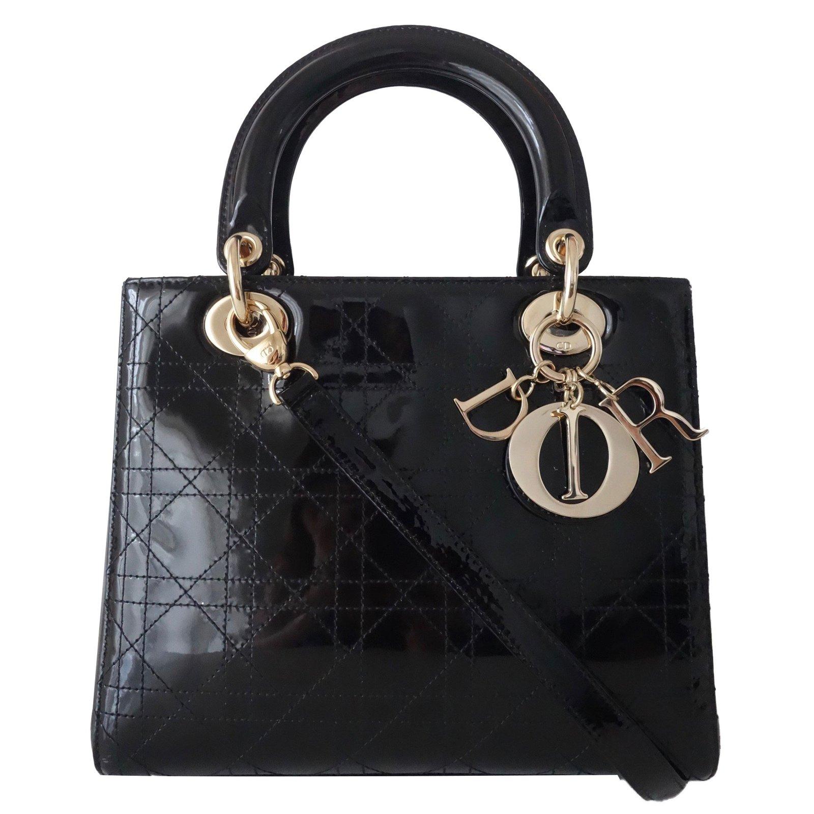 175ea94aa800 LADY vernis Sacs Cuir DIOR à Noir Dior 65178 main Joli Closet ref SAC 0wS6wI