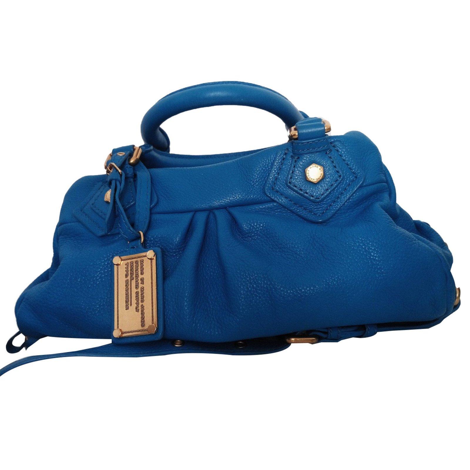 1eb5b21e16d Marc by Marc Jacobs Baby Groove classique Q Handbags Leather Blue,Golden  ref.65196