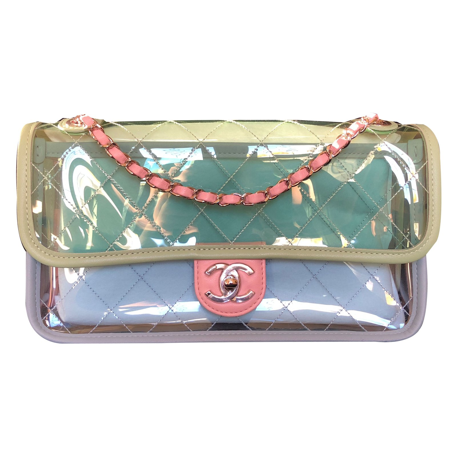 6dc6aaaab80e Chanel Runway Quilted Single Flap with Silver Chain Green Blue Pink ...