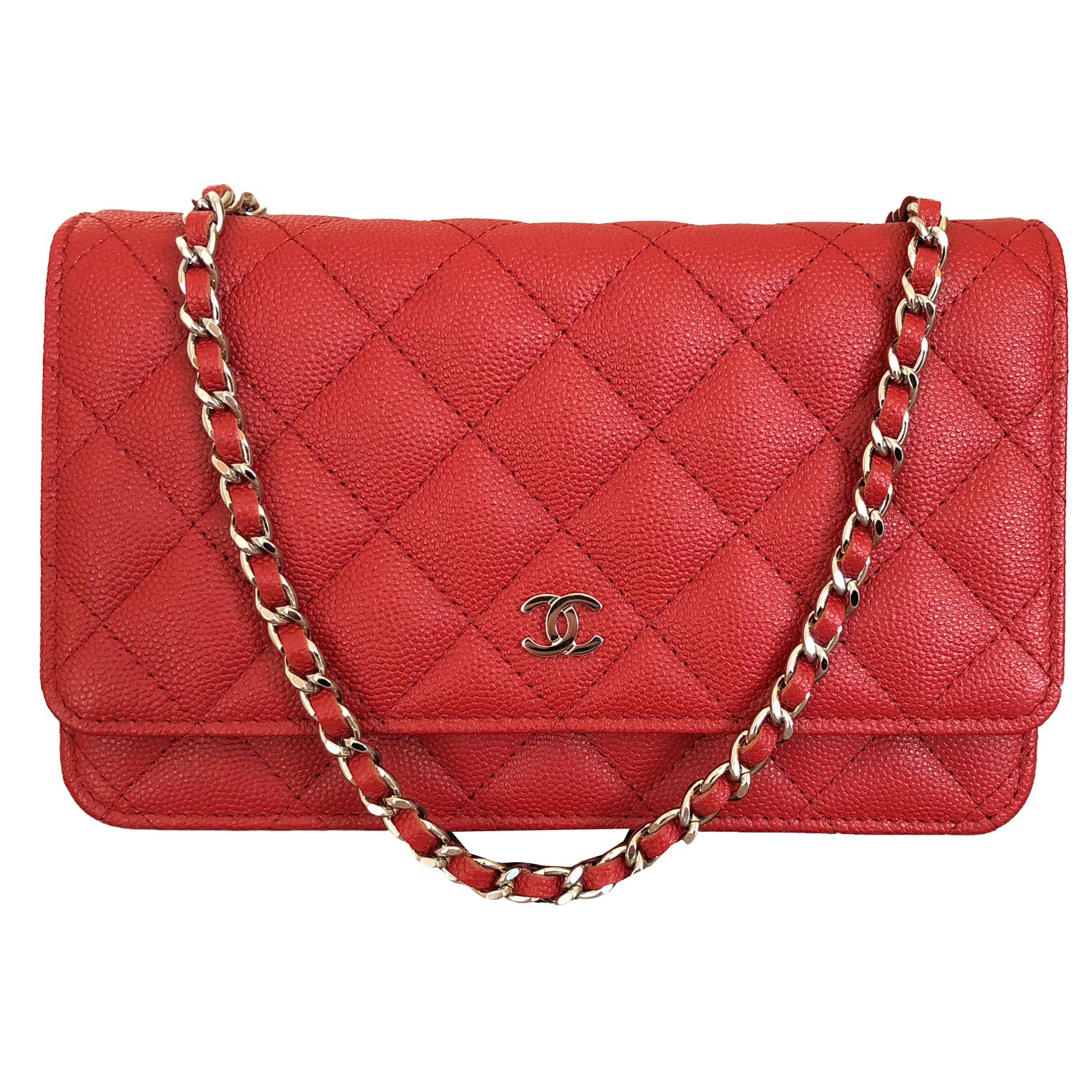 66fbbed70054 Chanel Wallet on Chain Red Caviar Leather with Shiny Silver Chain Handbags  Leather Red ref.