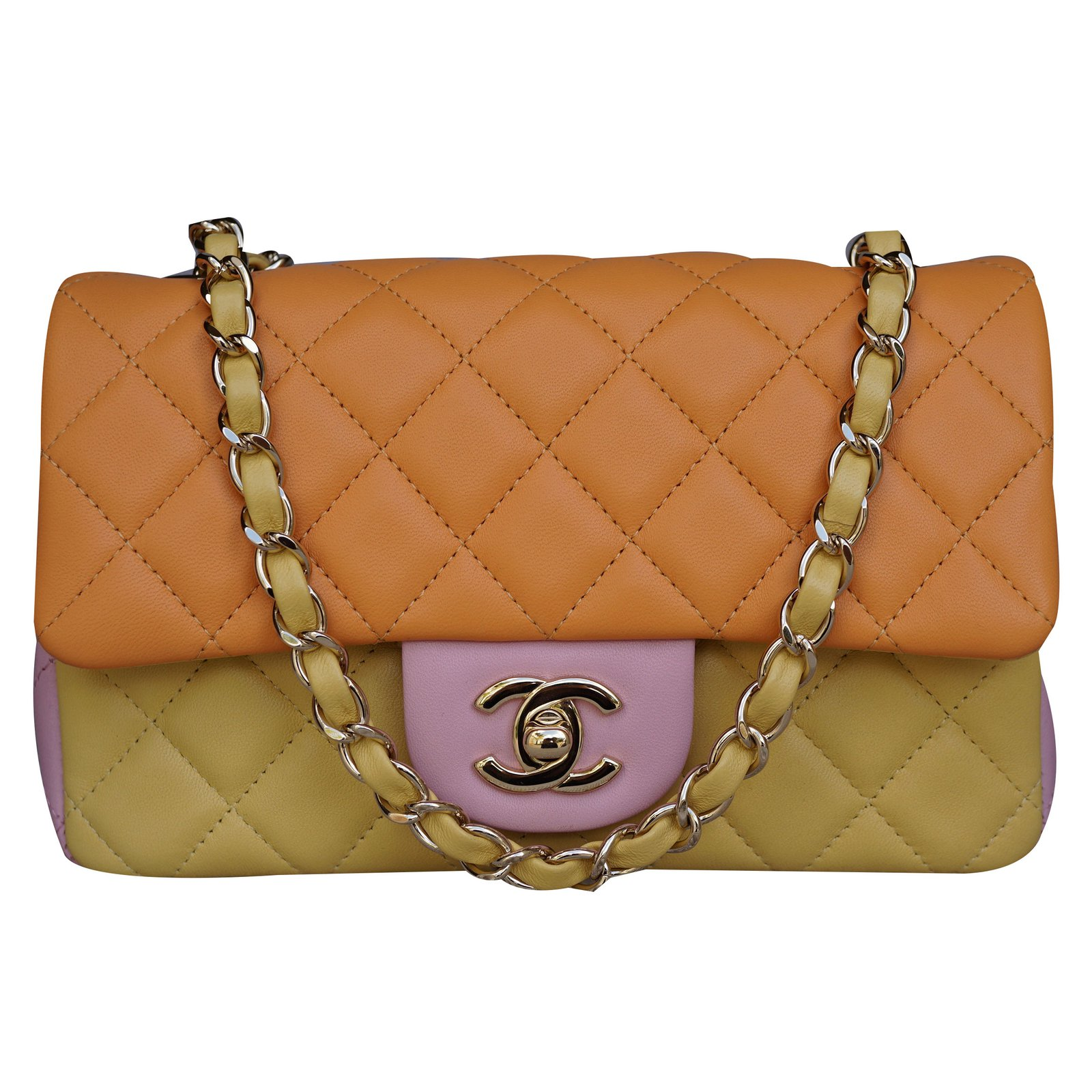 e319efd6a39527 Chanel Tri-Colors Lambskin Mini Flap Bag with Shiny Gold chain Handbags  Leather Multiple colors