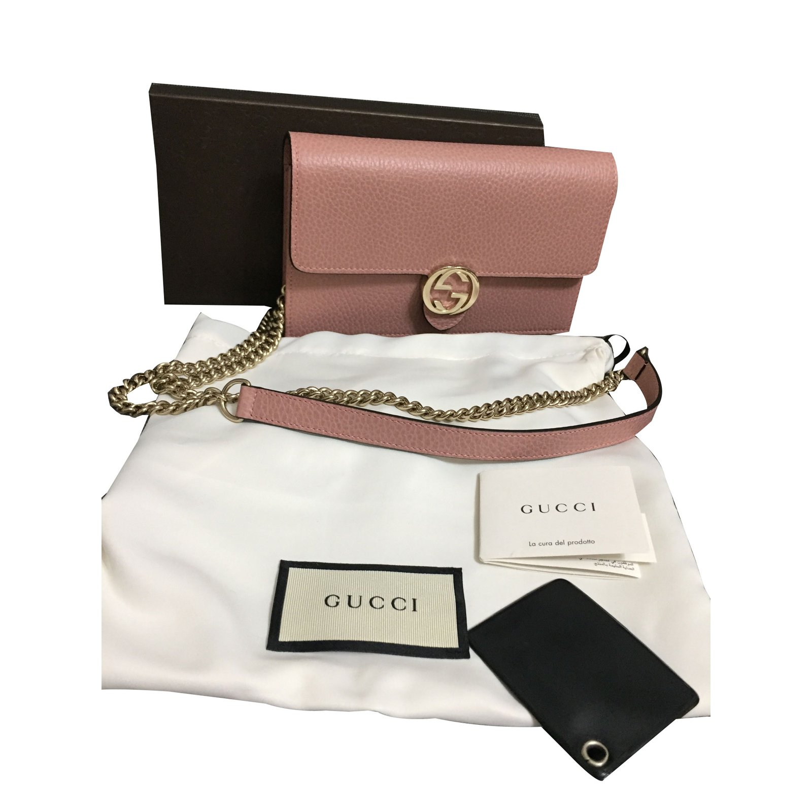 03970d93648 Pee Maroquinerie Gucci Wallet On Chain Cuir Rose Ref 65230 Joli. Authentic  Gucci Outlet Fabulous Instantly Recognizable Pink Guccissima Leather ...