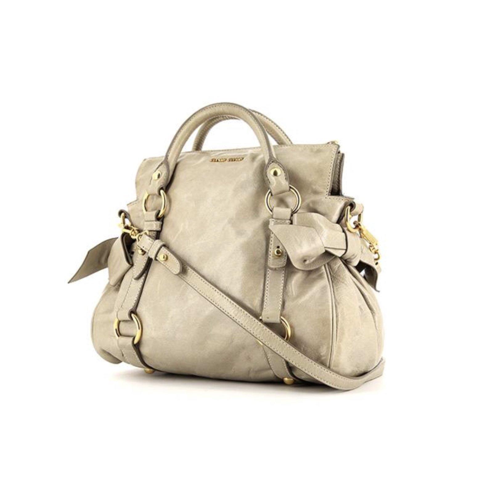 Miu Handbags Leather Beige