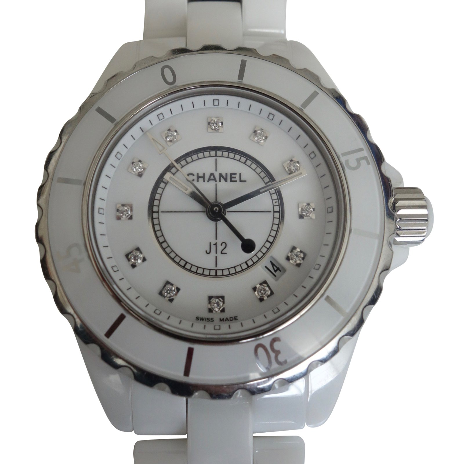 chanel ceramic watch diamond ladies white watches bezel