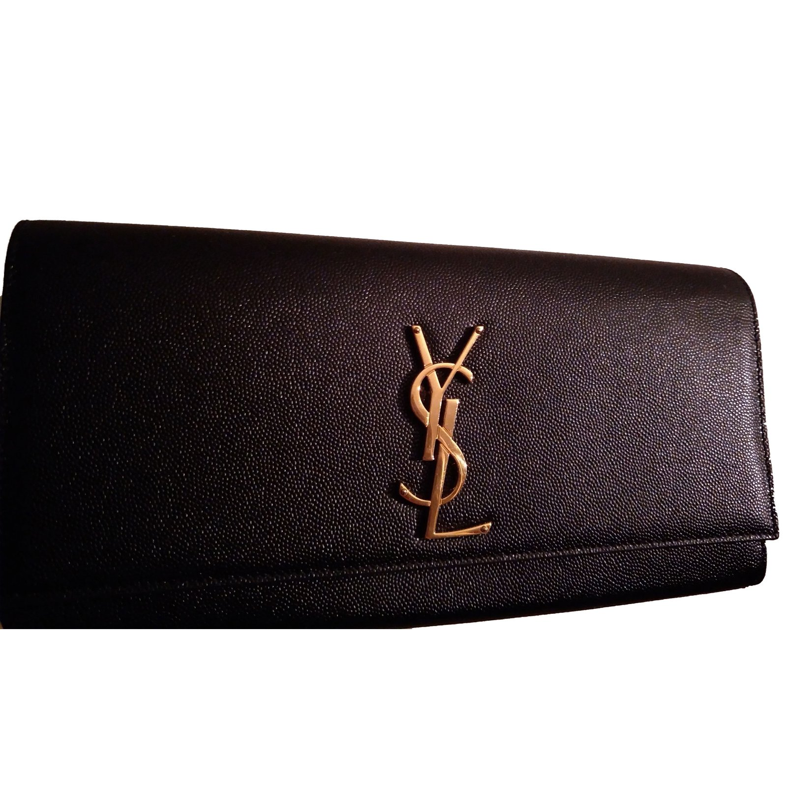 978b8fcd33a Yves Saint Laurent Clutch bags Clutch bags Leather Black,Golden ref.65847