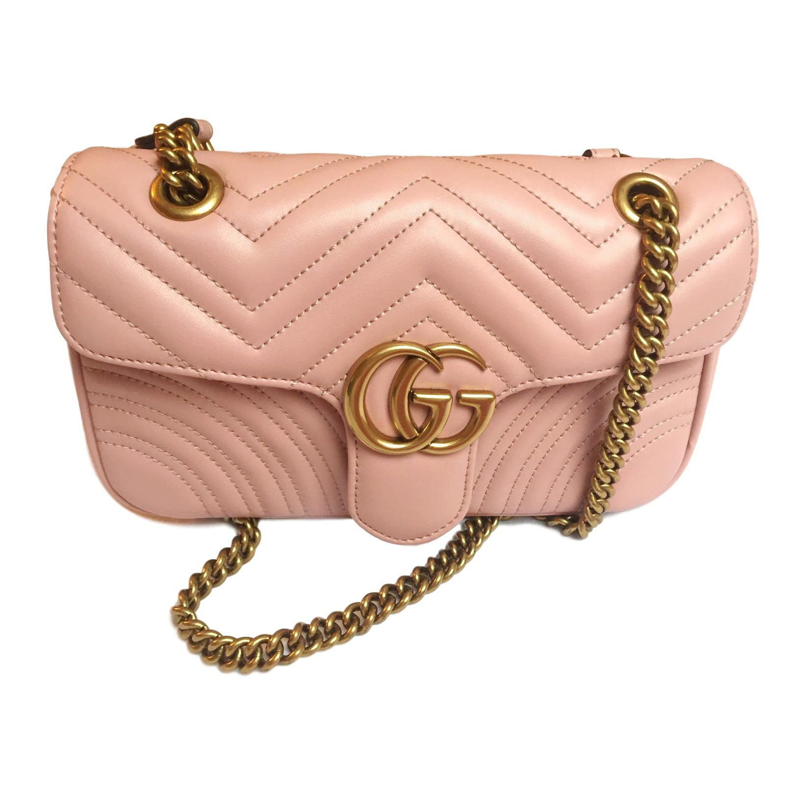 Gucci Small Marmont Pink Handbags Leather Ref 65937